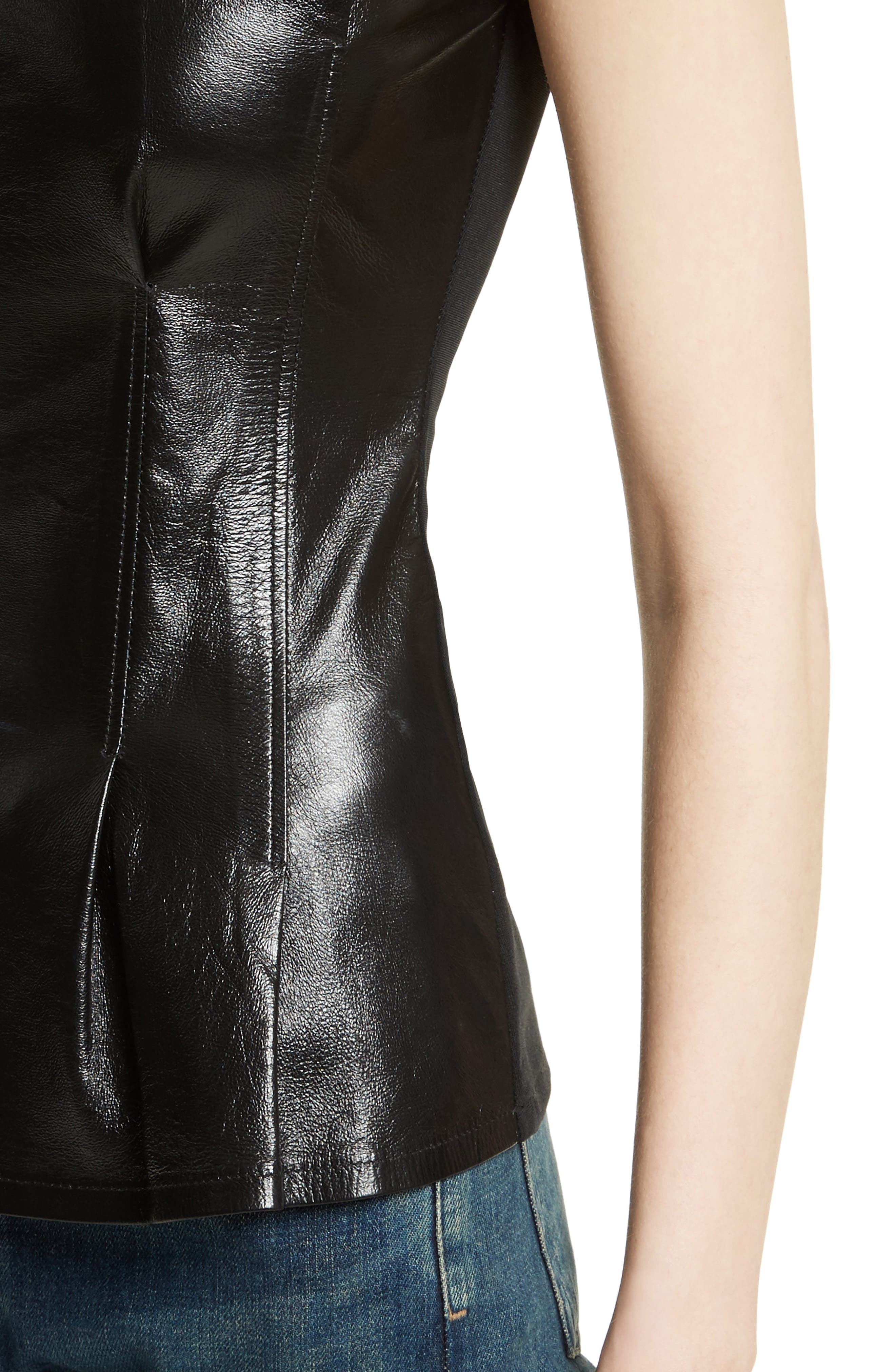 Darted Paper Leather Mix Media Top,                             Alternate thumbnail 3, color,                             Black