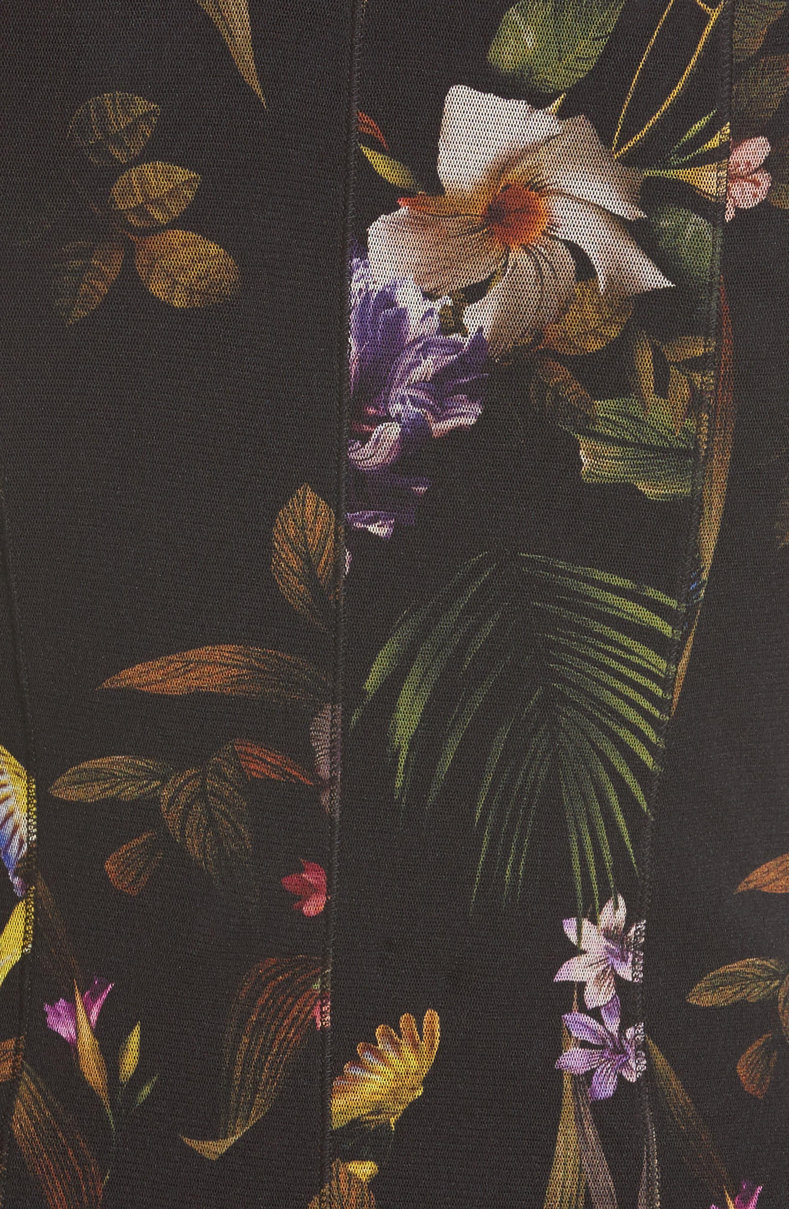 Tulle Turtleneck Sheath Dress,                             Alternate thumbnail 3, color,                             Nero