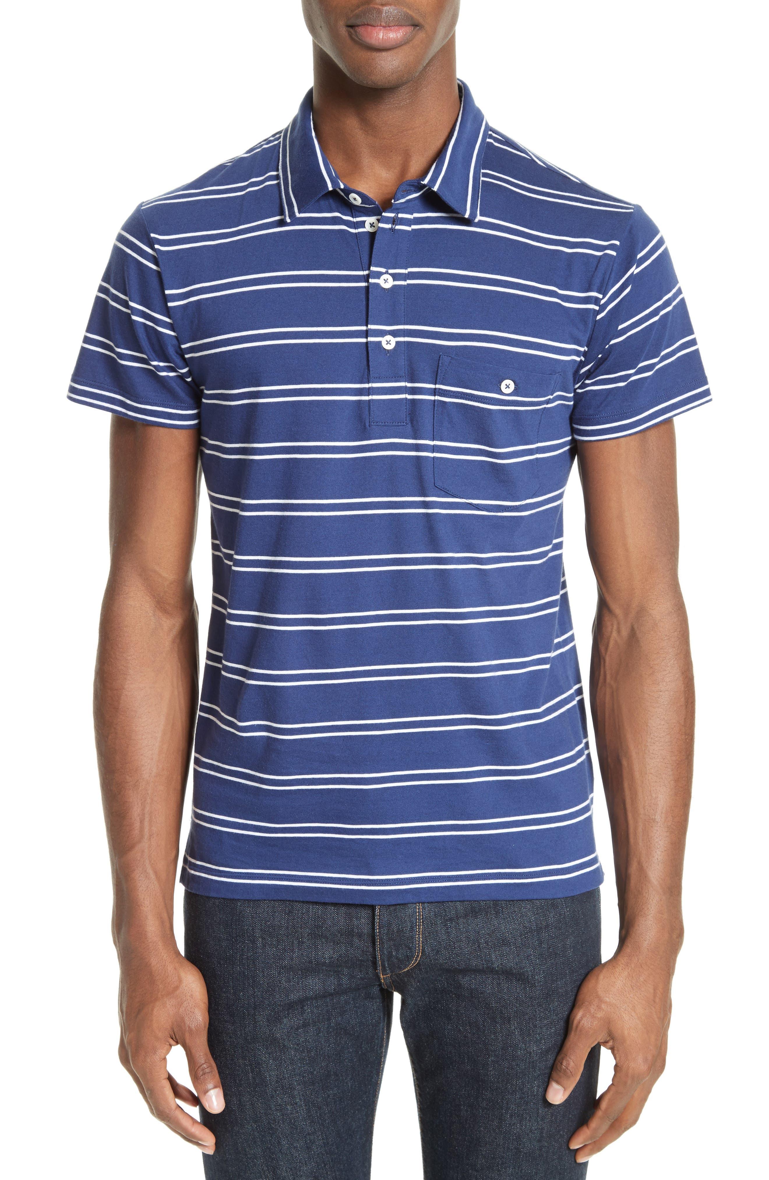 Fine Stripe Double Face Polo,                         Main,                         color, Blue