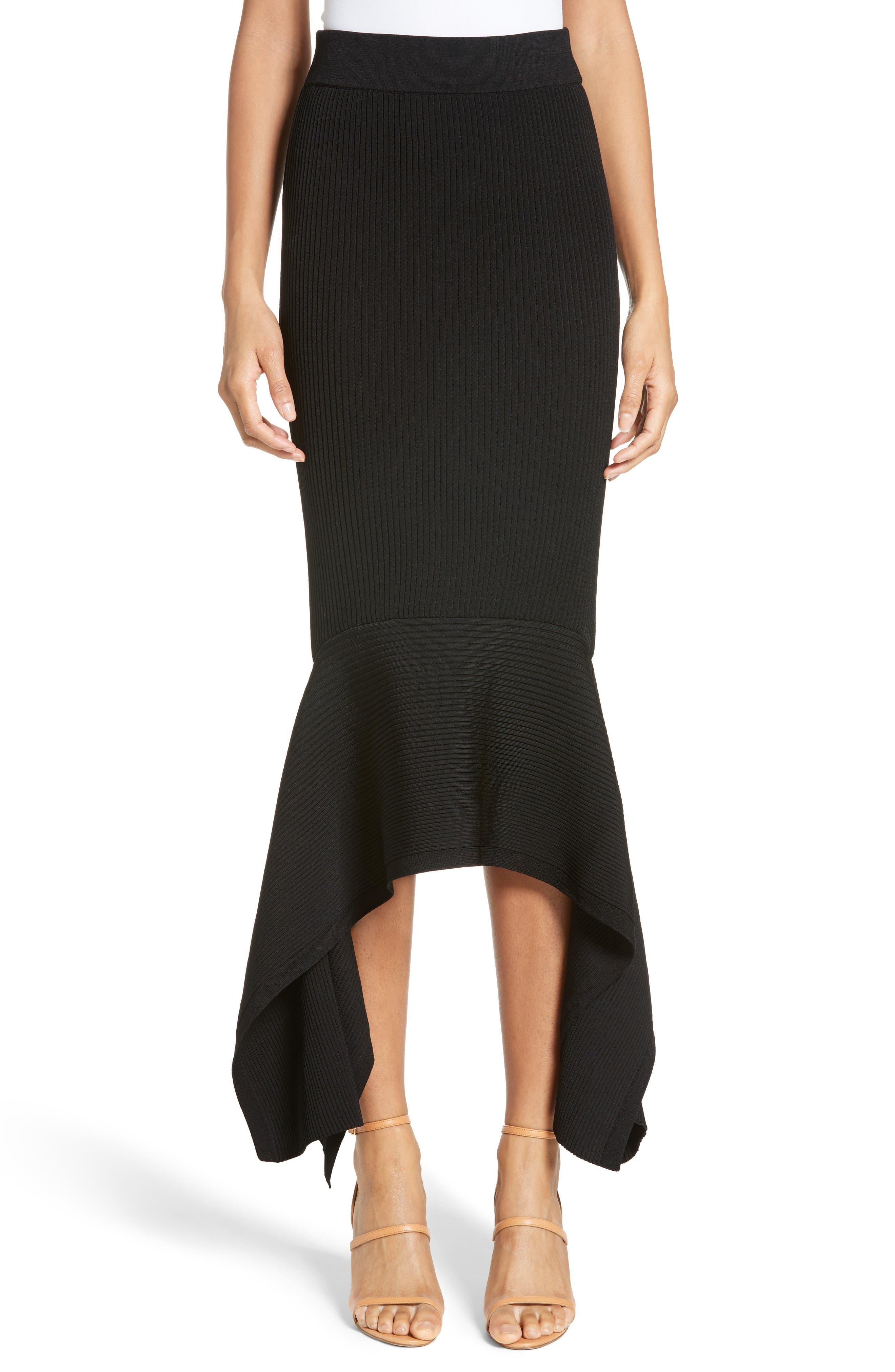 Rib Knit Ruffle Hem Midi Skirt,                         Main,                         color, Black