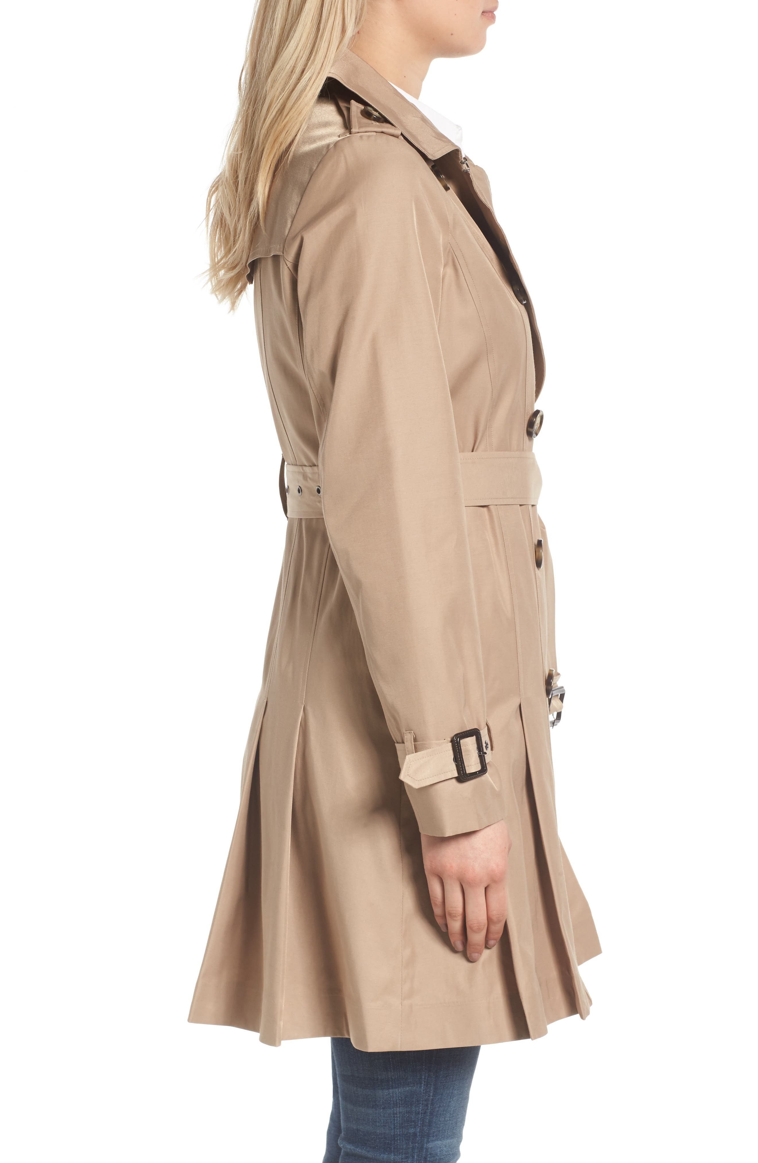 Alternate Image 3  - MICHAEL Michael Kors Double Breasted Skirted Trench Coat