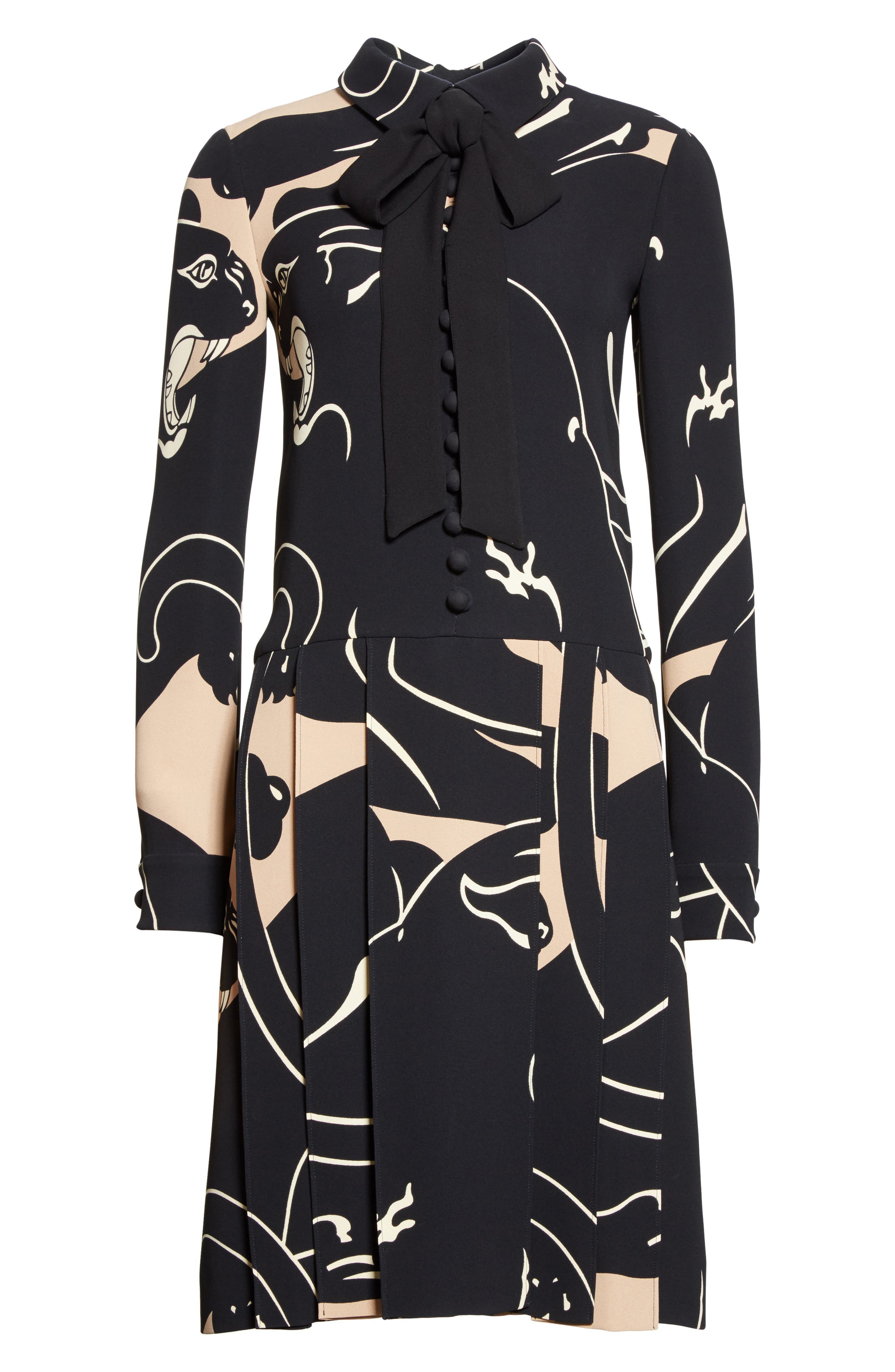 Panther Print Tie Neck Silk Cady Dress,                             Alternate thumbnail 4, color,                             Camel/ Black