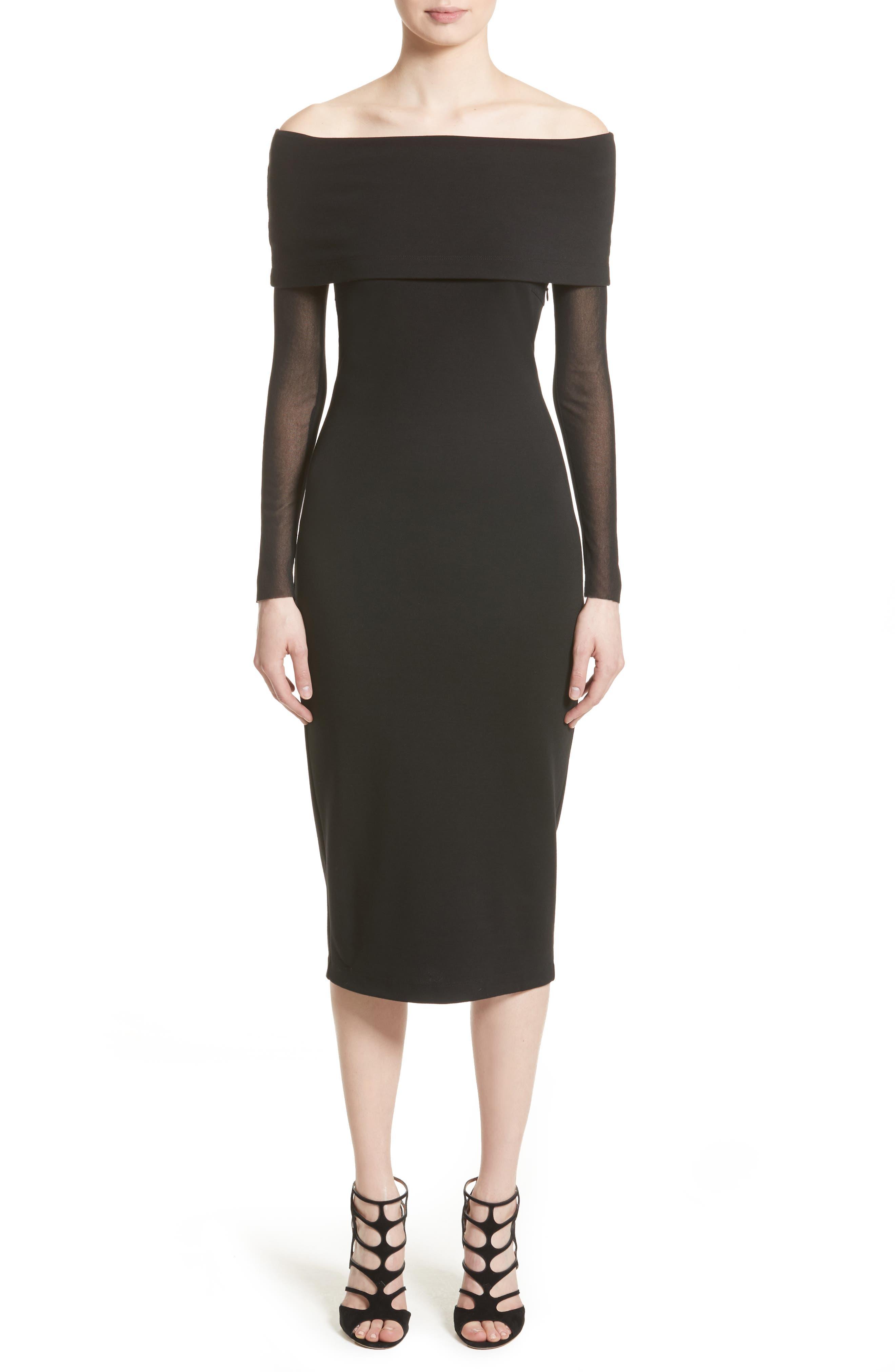Tulle Off the Shoulder Midi Dress,                         Main,                         color, Nero