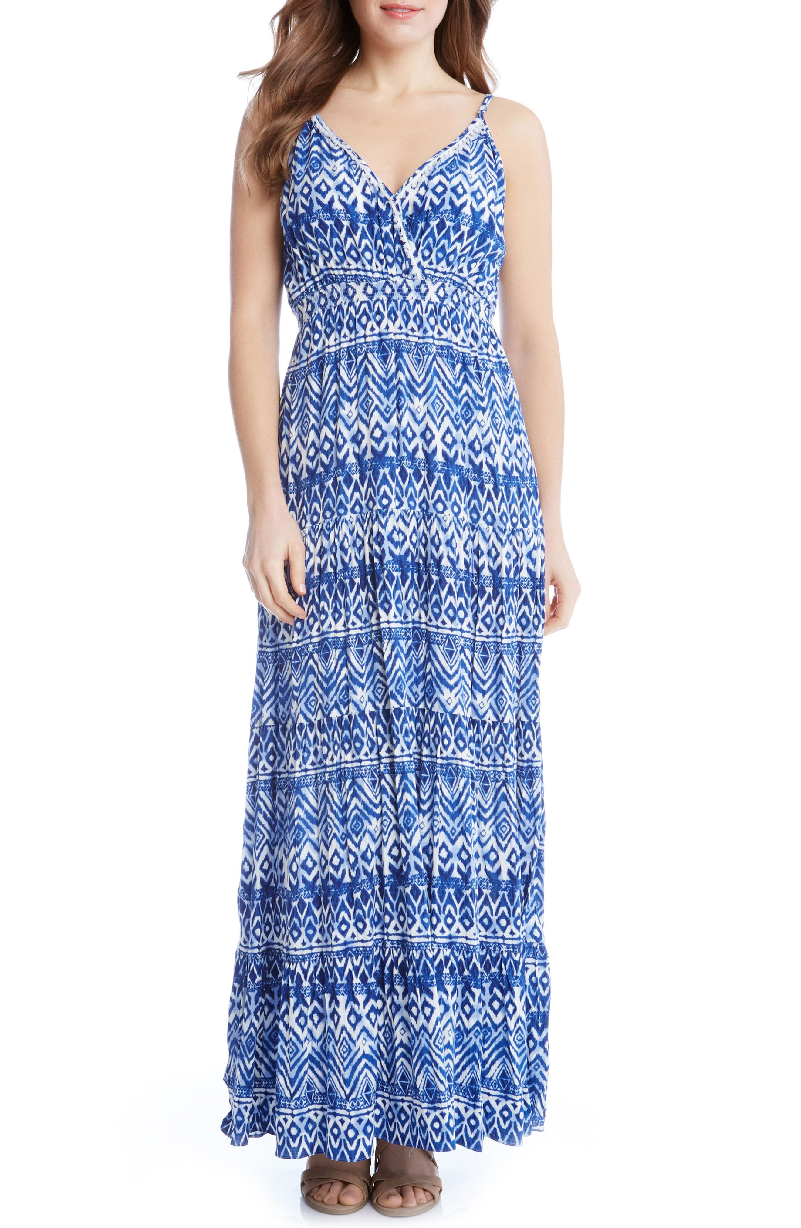 Alternate Image 1 Selected - Karen Kane Batik Print Tiered Maxi Dress