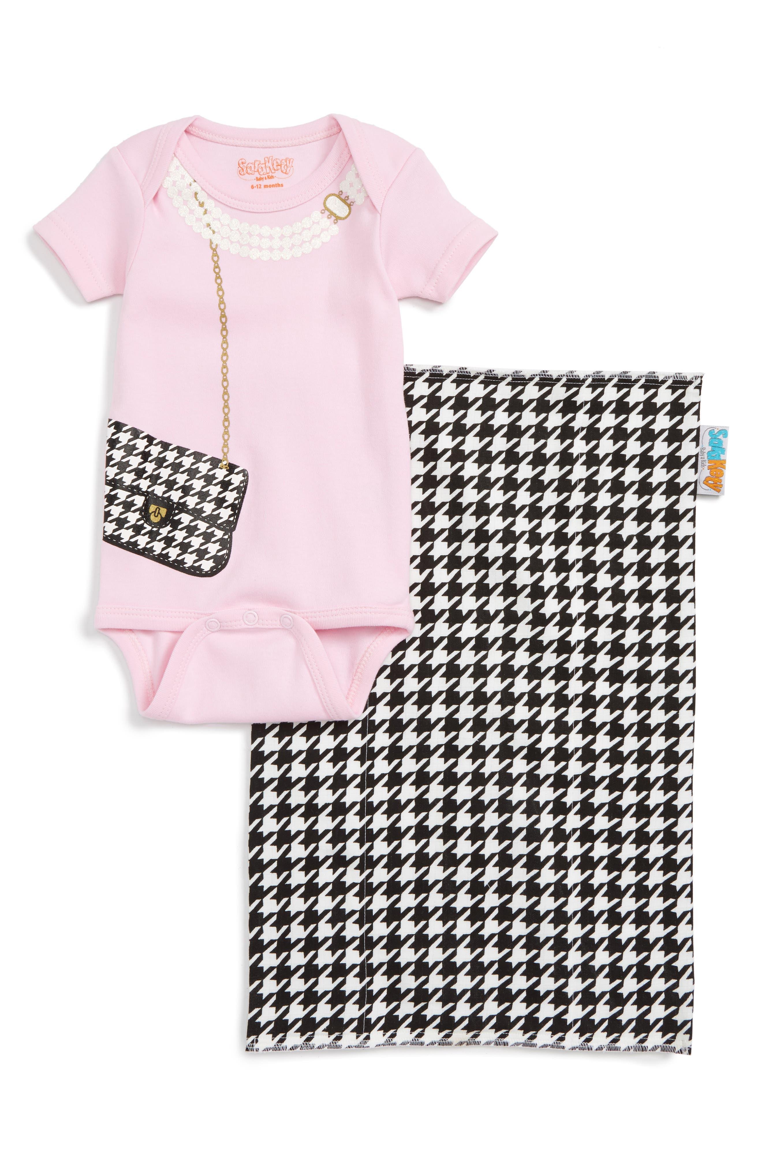 Sara Kety Baby & Kids Houndstooth Purse Bodysuit & Burp Cloth Set (Baby Girls)