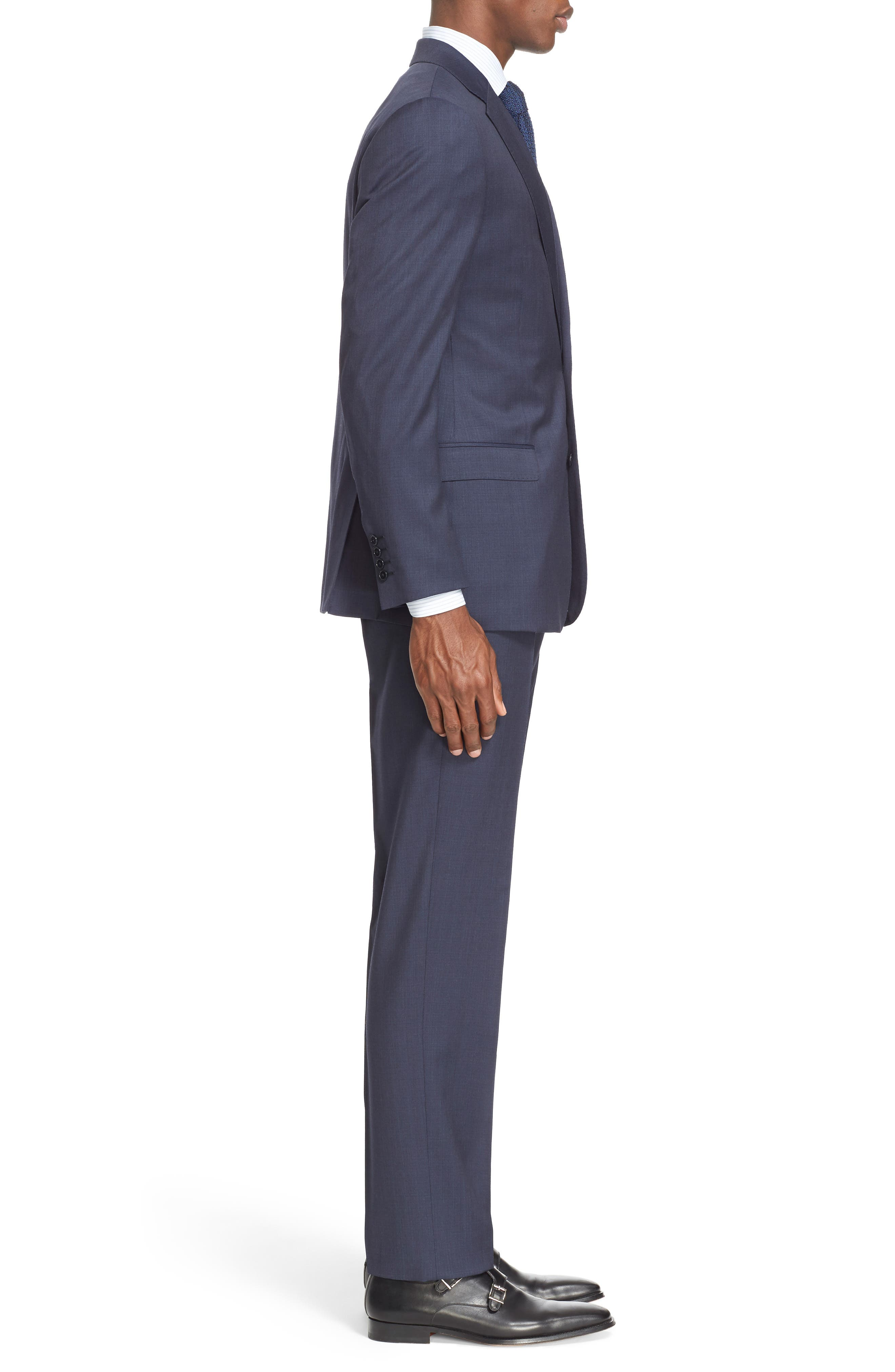 Trim Fit Solid Wool Suit,                             Alternate thumbnail 3, color,                             Navy