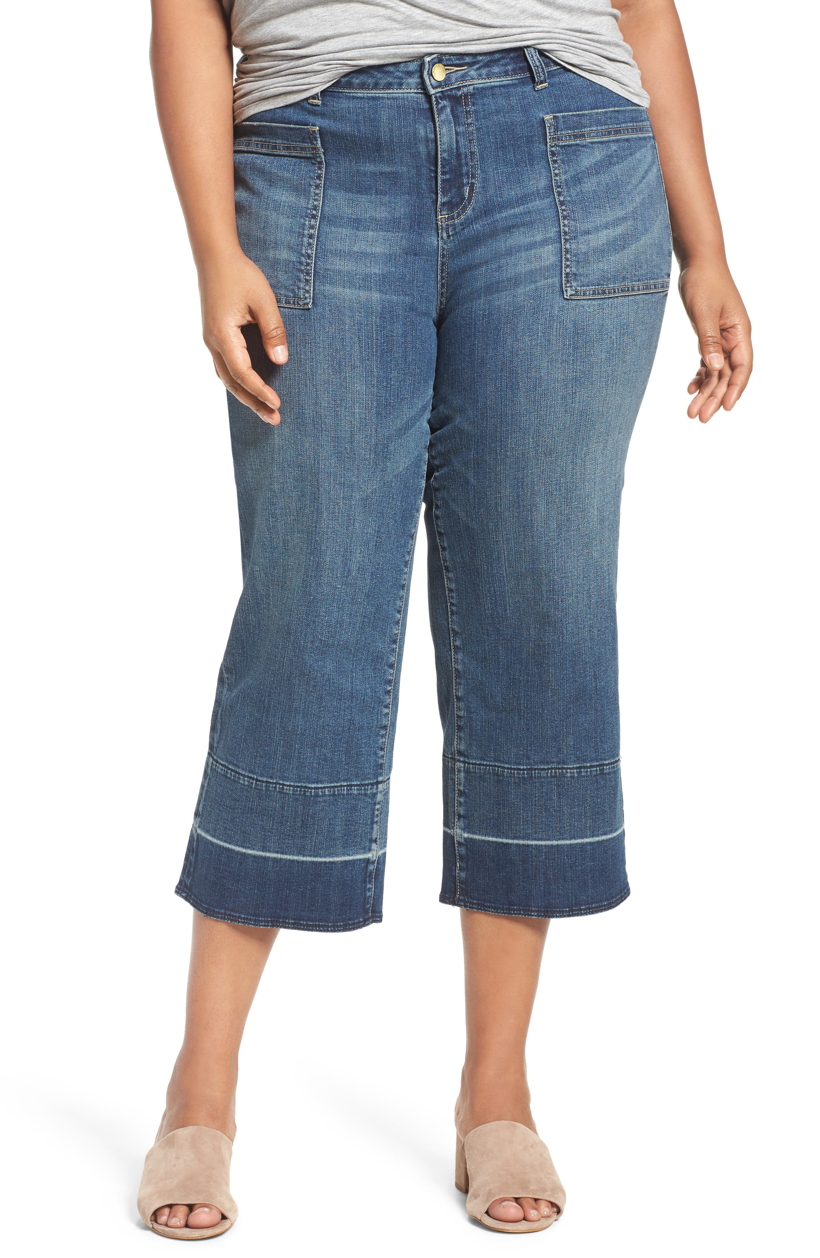 Caslon® Released Hem Crop Jeans (Blue Chroma) (Plus Size)