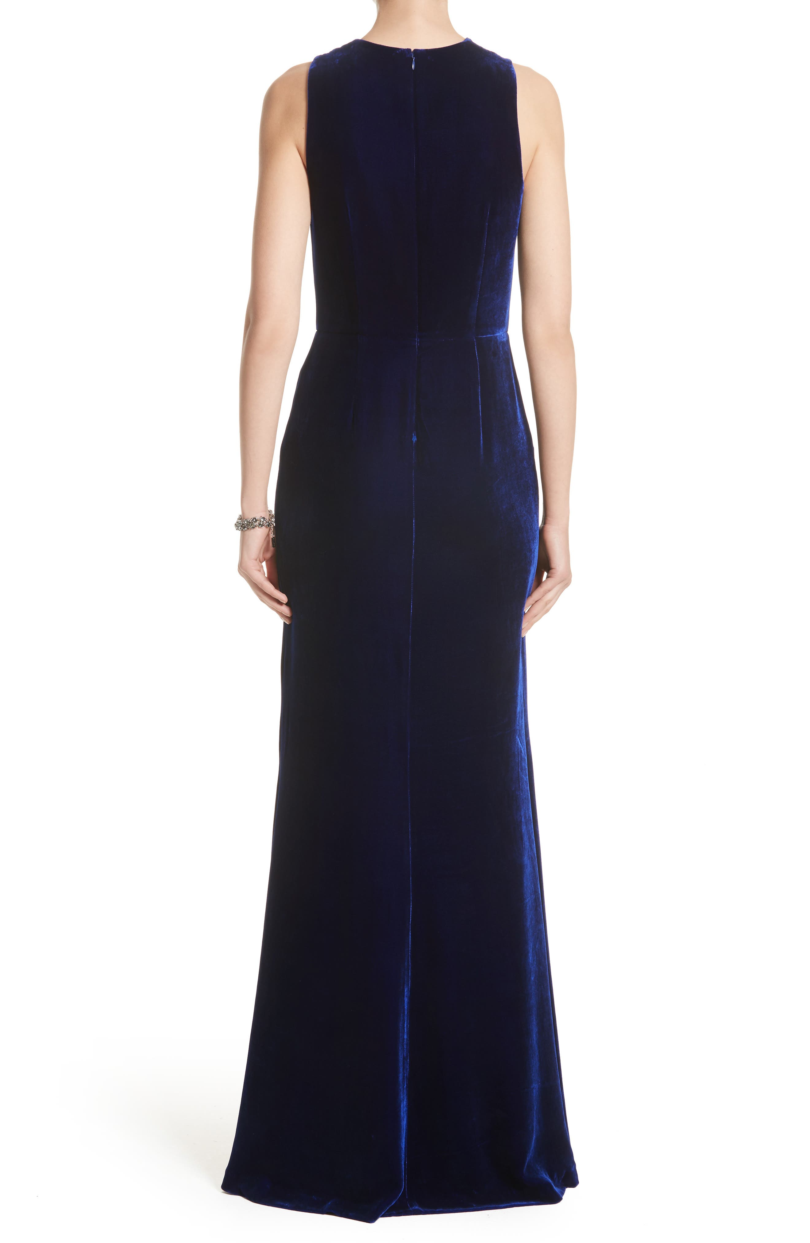 Draped Front Velvet Gown,                             Alternate thumbnail 2, color,                             Lazuli