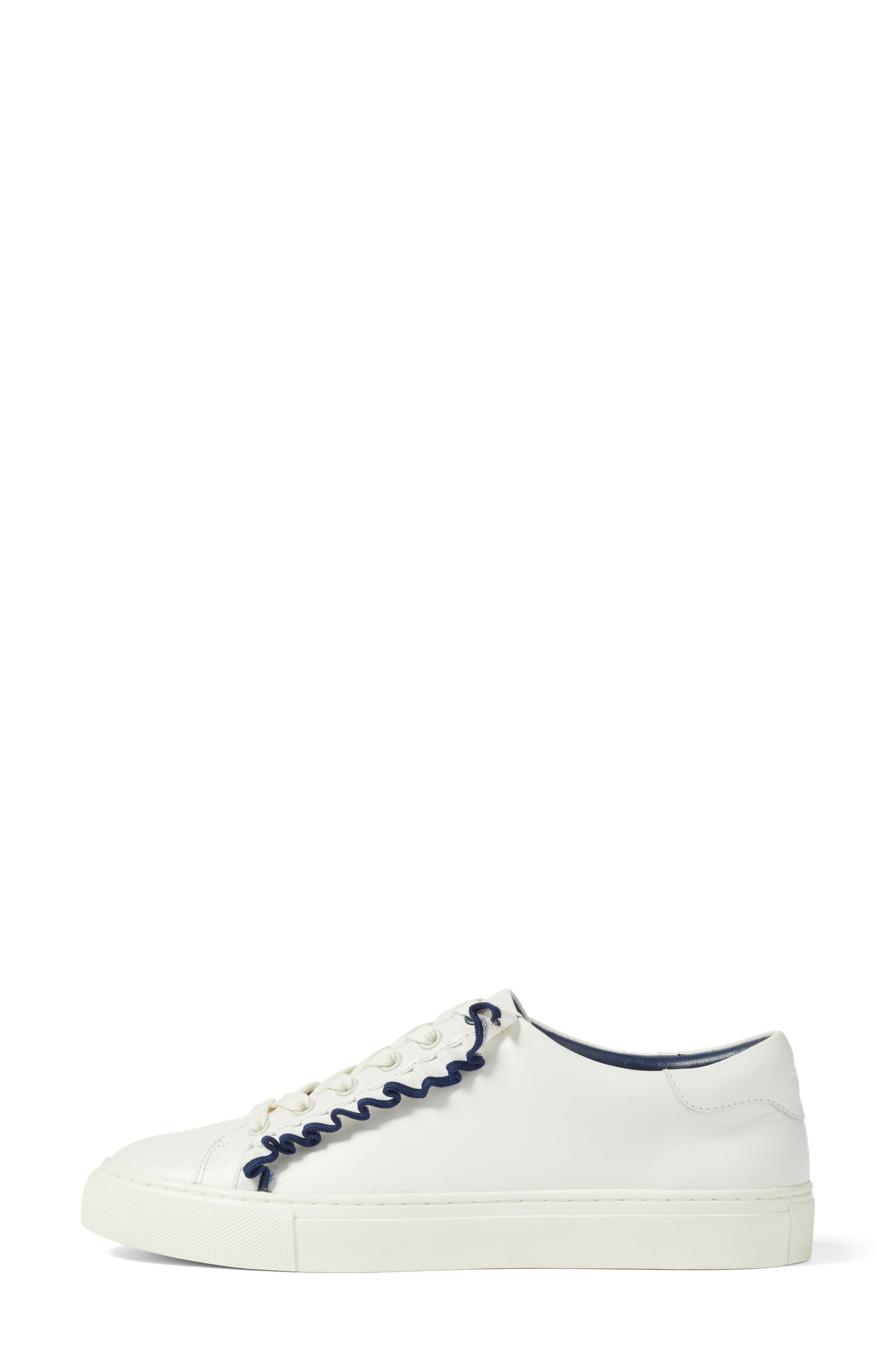 Ruffle Sneaker,                             Alternate thumbnail 3, color,                             Snow White/ Navy Sea