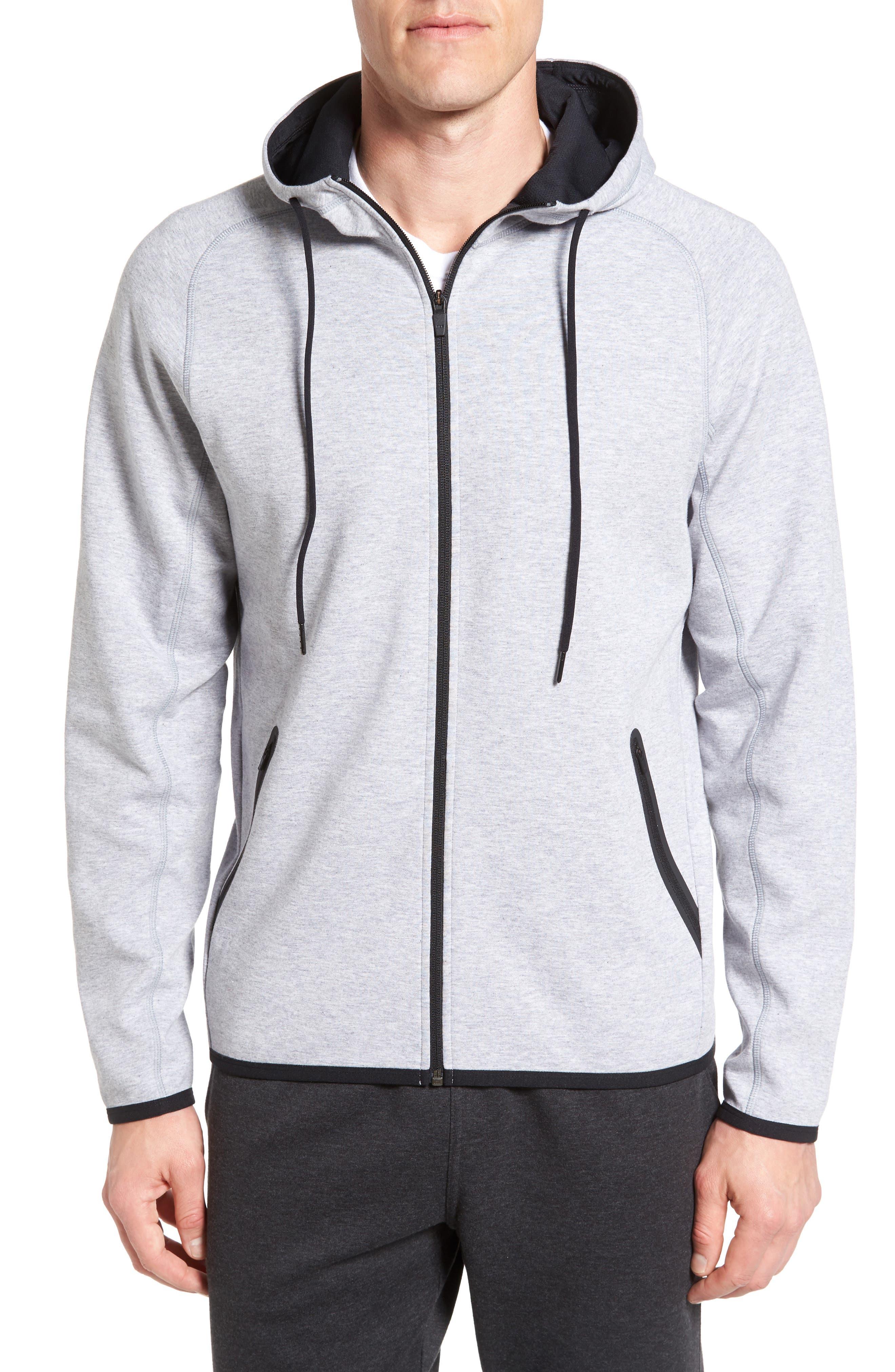Tech Knit Hoodie,                         Main,                         color, Grey Zinc Melange