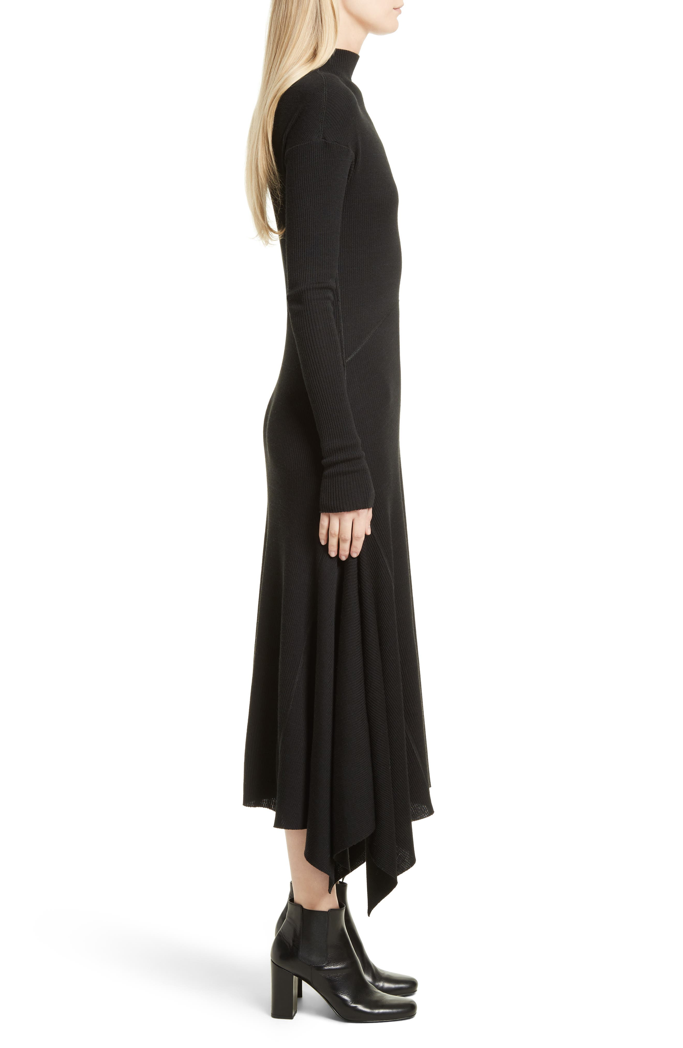 Ribbed Sweater Dress,                             Alternate thumbnail 3, color,                             Black