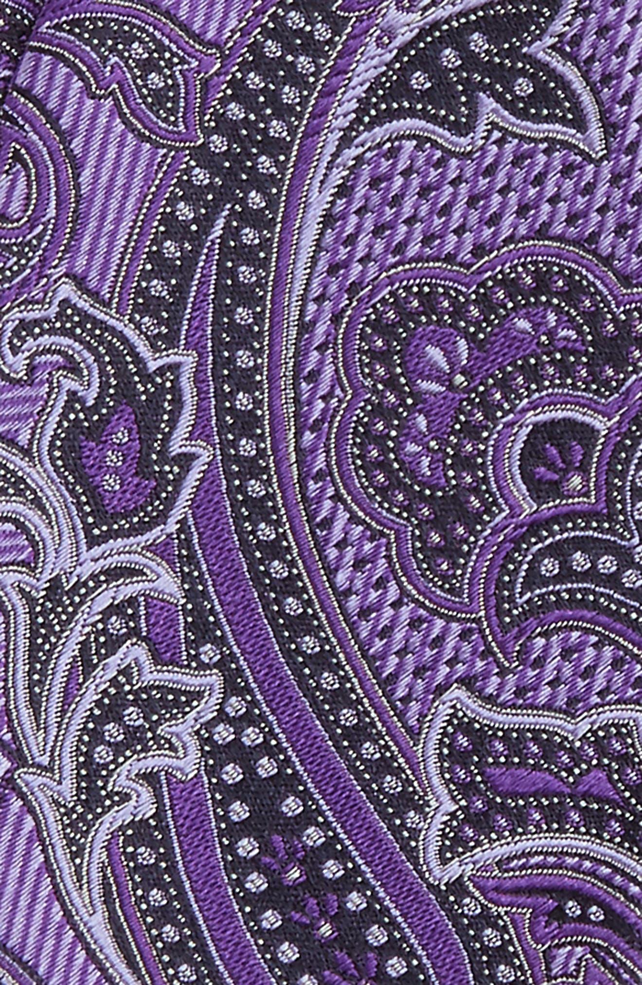 Paisley Silk Bow Tie,                             Alternate thumbnail 3, color,                             Purple