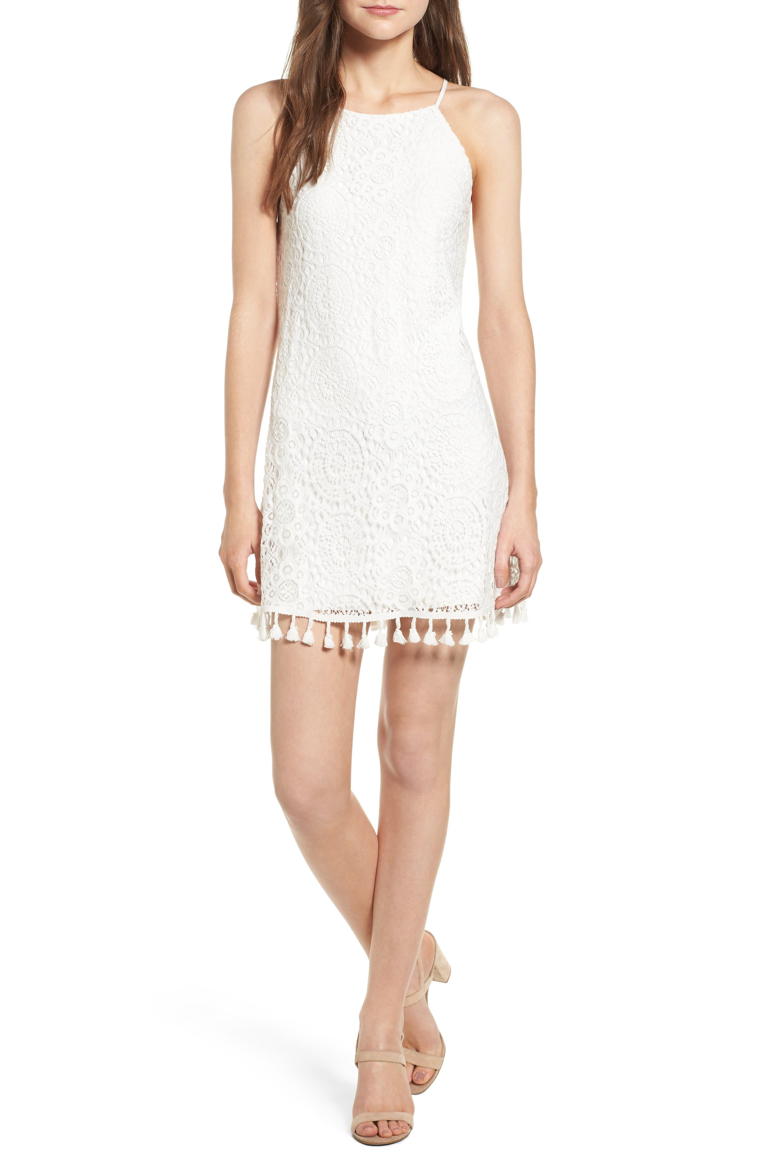 Tassel Hem Lace Dress,                         Main,                         color, Off White