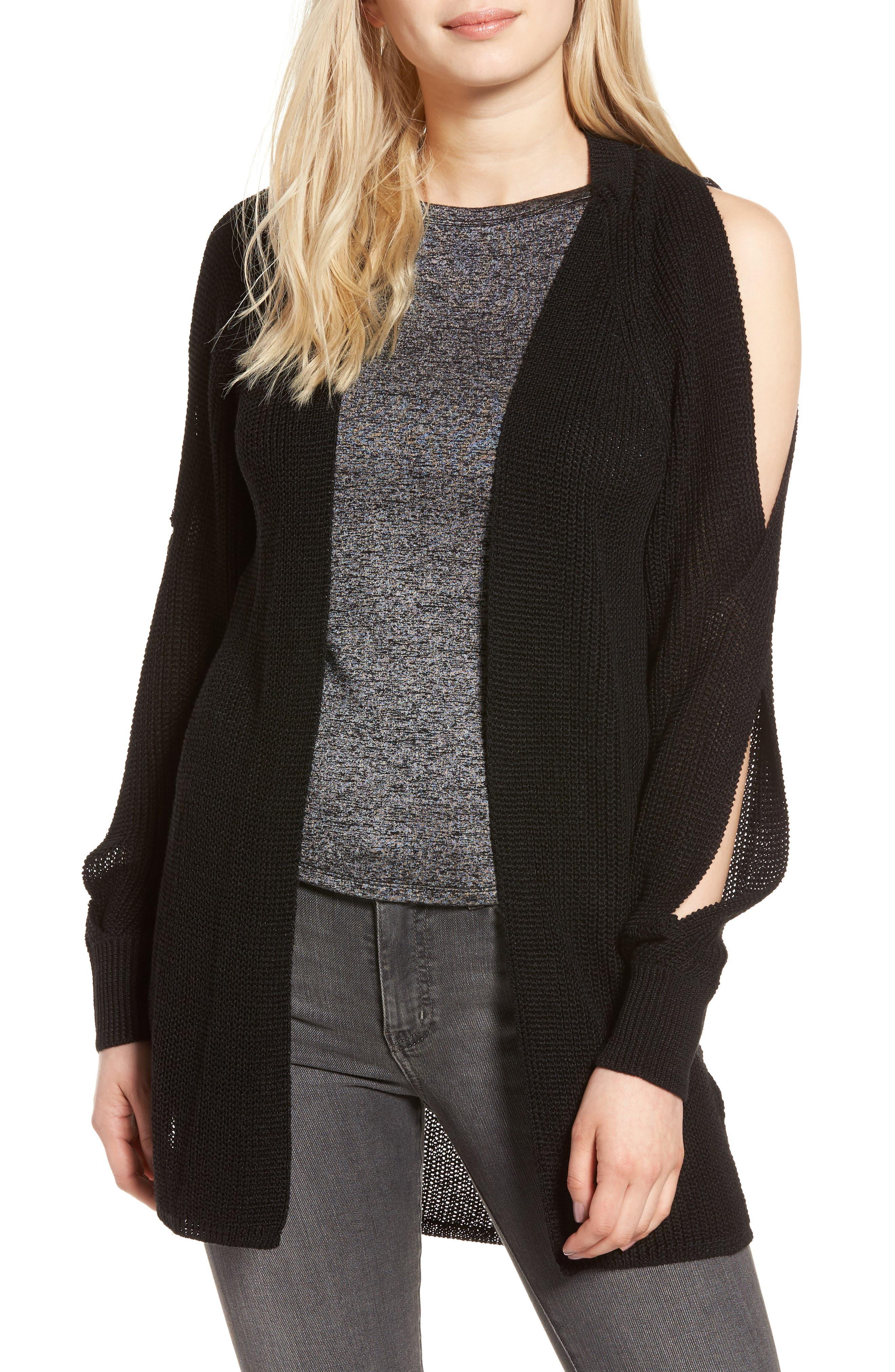 Twisted Sleeve Cardigan,                         Main,                         color, Black