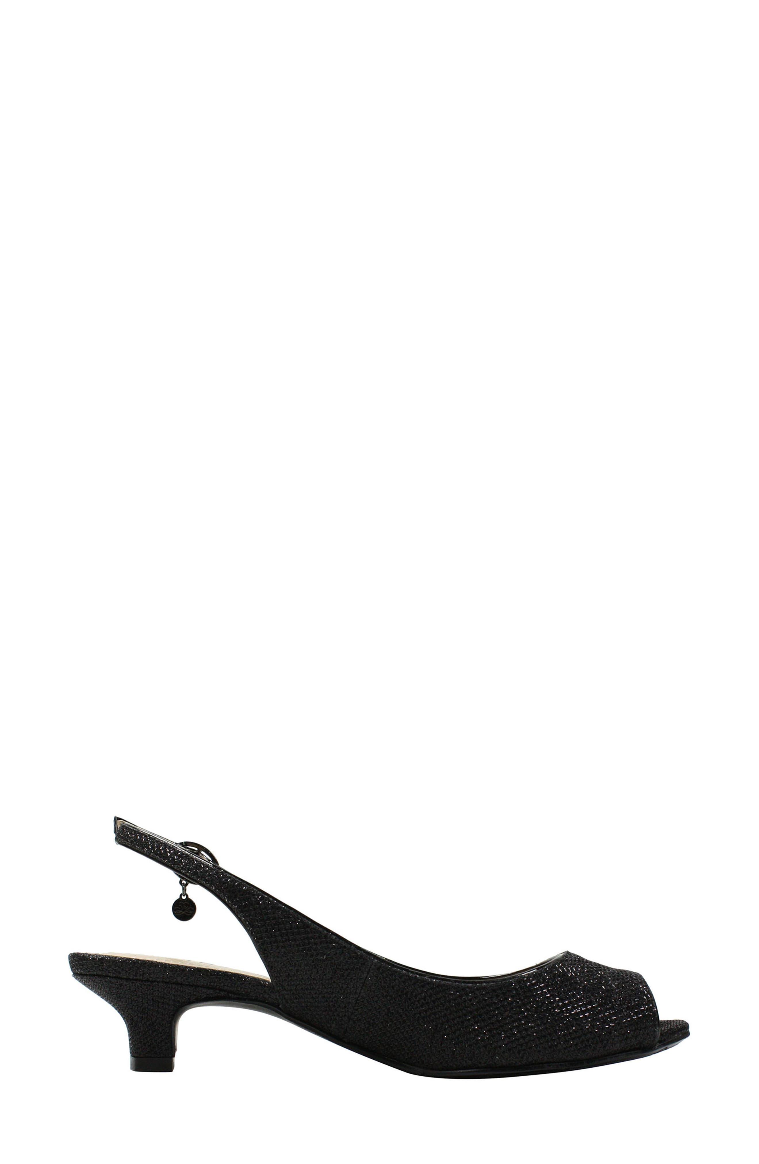 Jenvey Slingback Sandal,                             Alternate thumbnail 2, color,                             Black Fabric