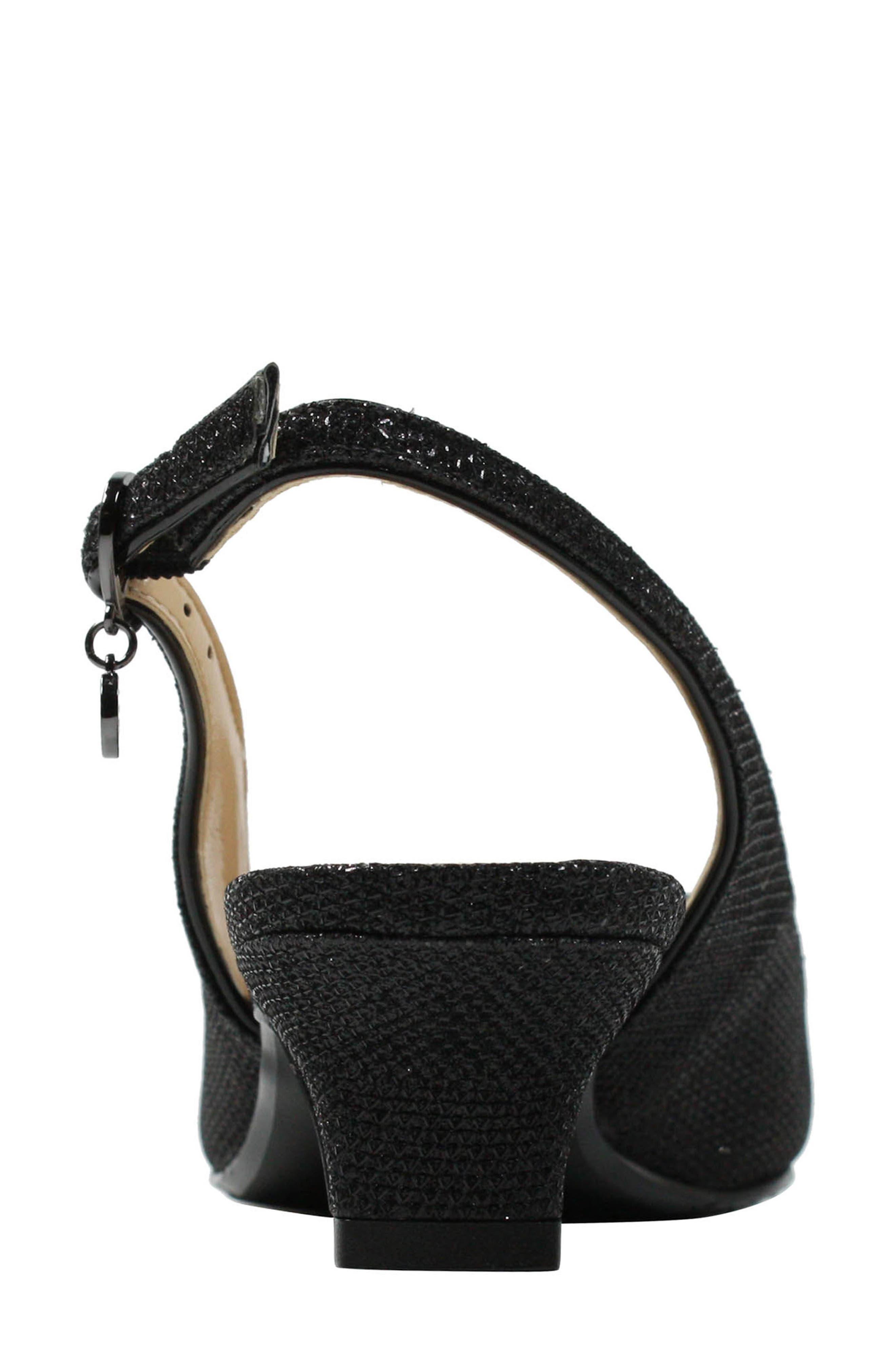 Jenvey Slingback Sandal,                             Alternate thumbnail 4, color,                             Black Fabric