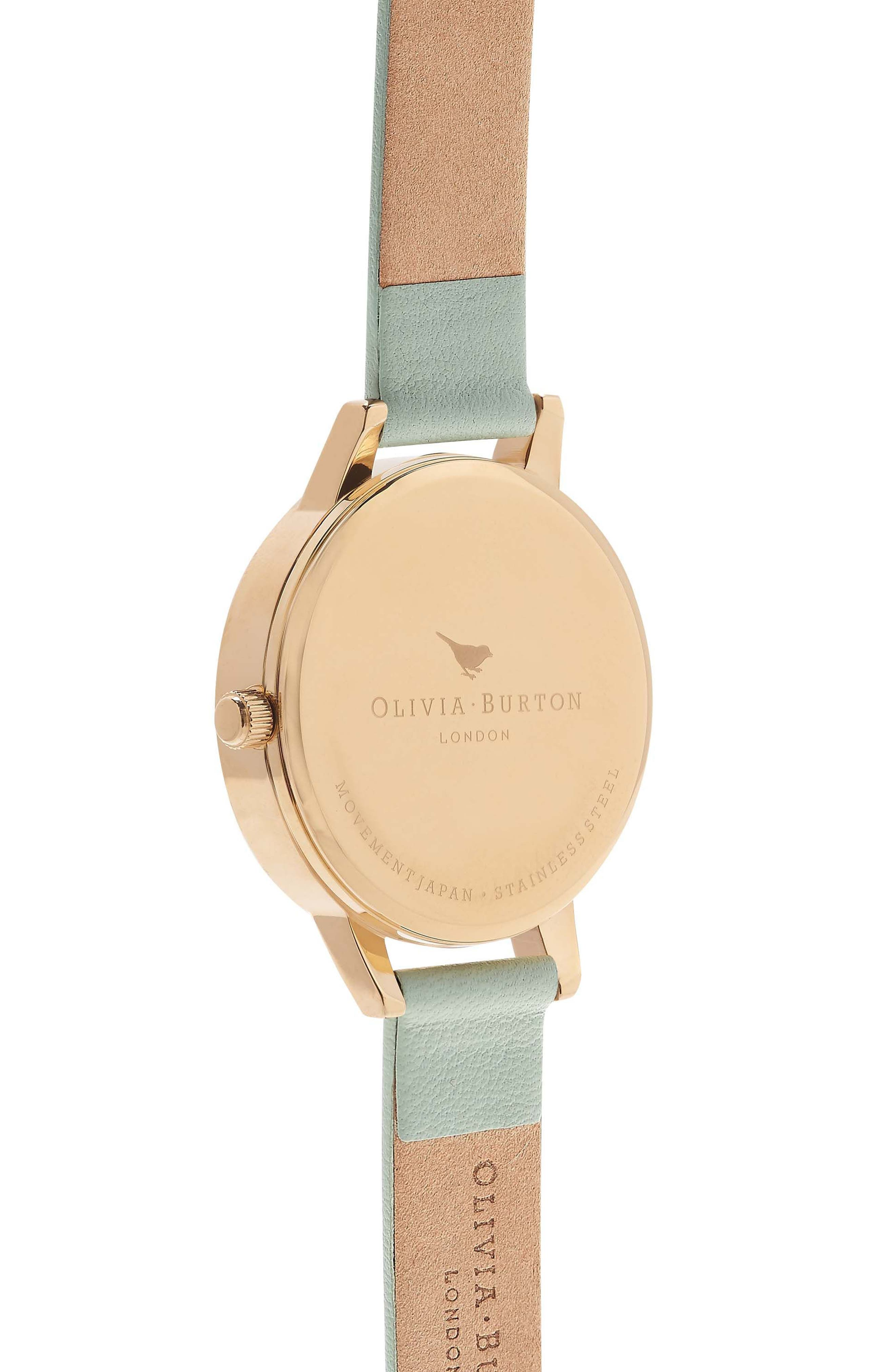 Midi Dial Leather Strap Watch, 30mm,                             Alternate thumbnail 2, color,                             Mint/ White/ Gold