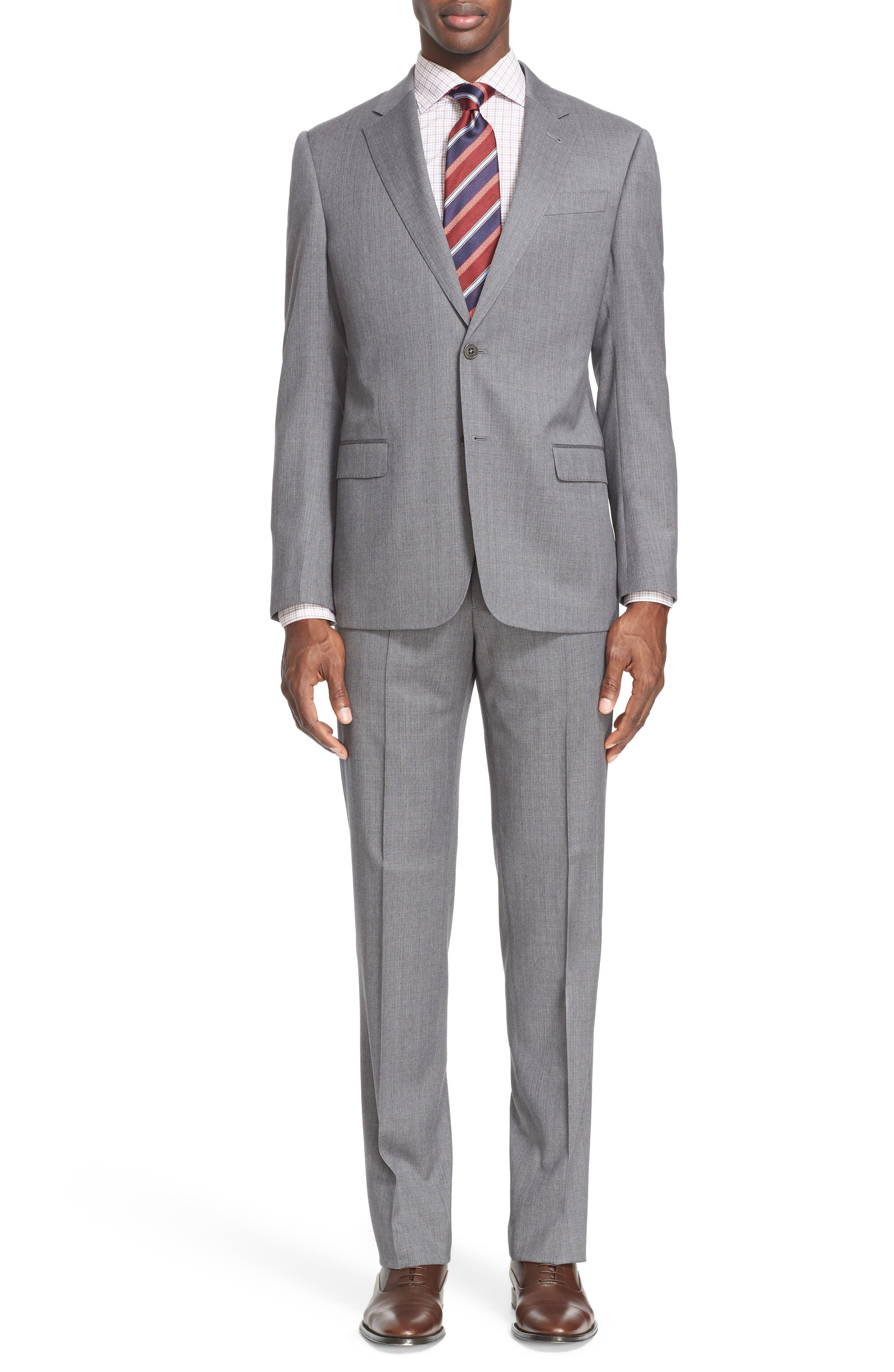 Armani Collezioni Trim Fit Solid Wool Suit