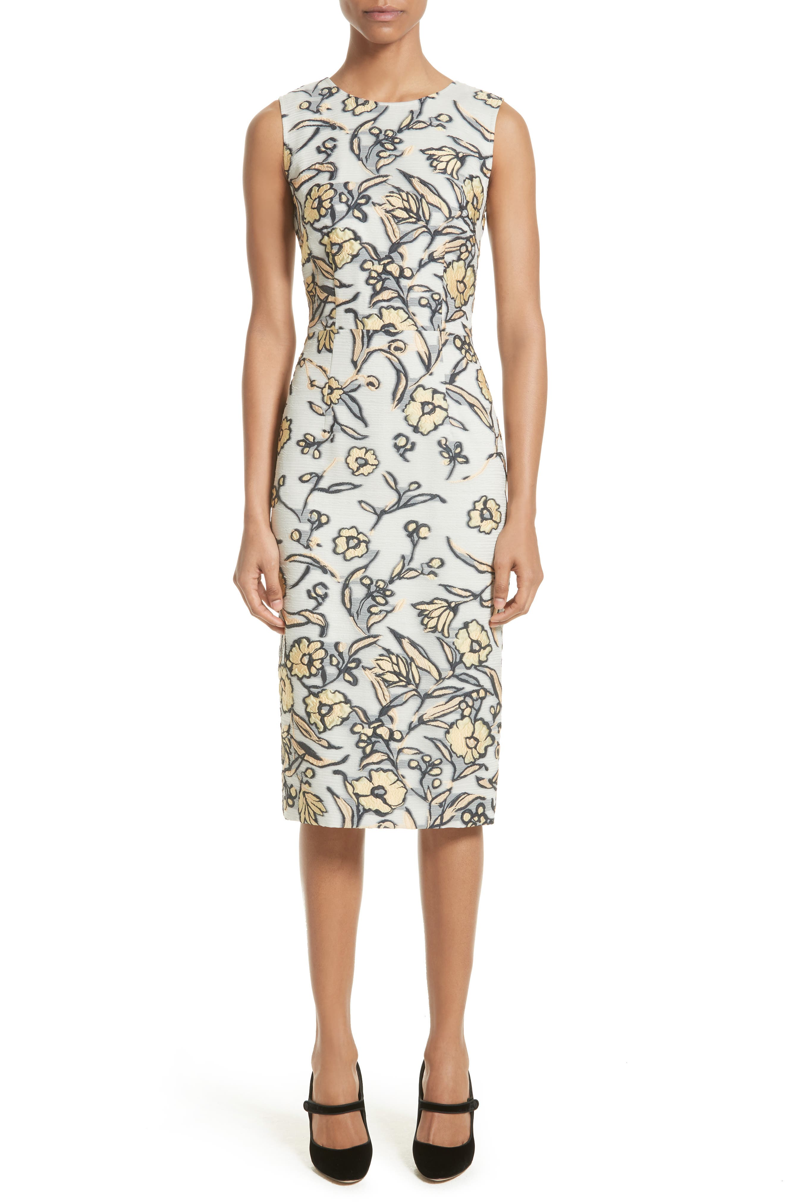 St. John Collection Painted Floral Organza Dress