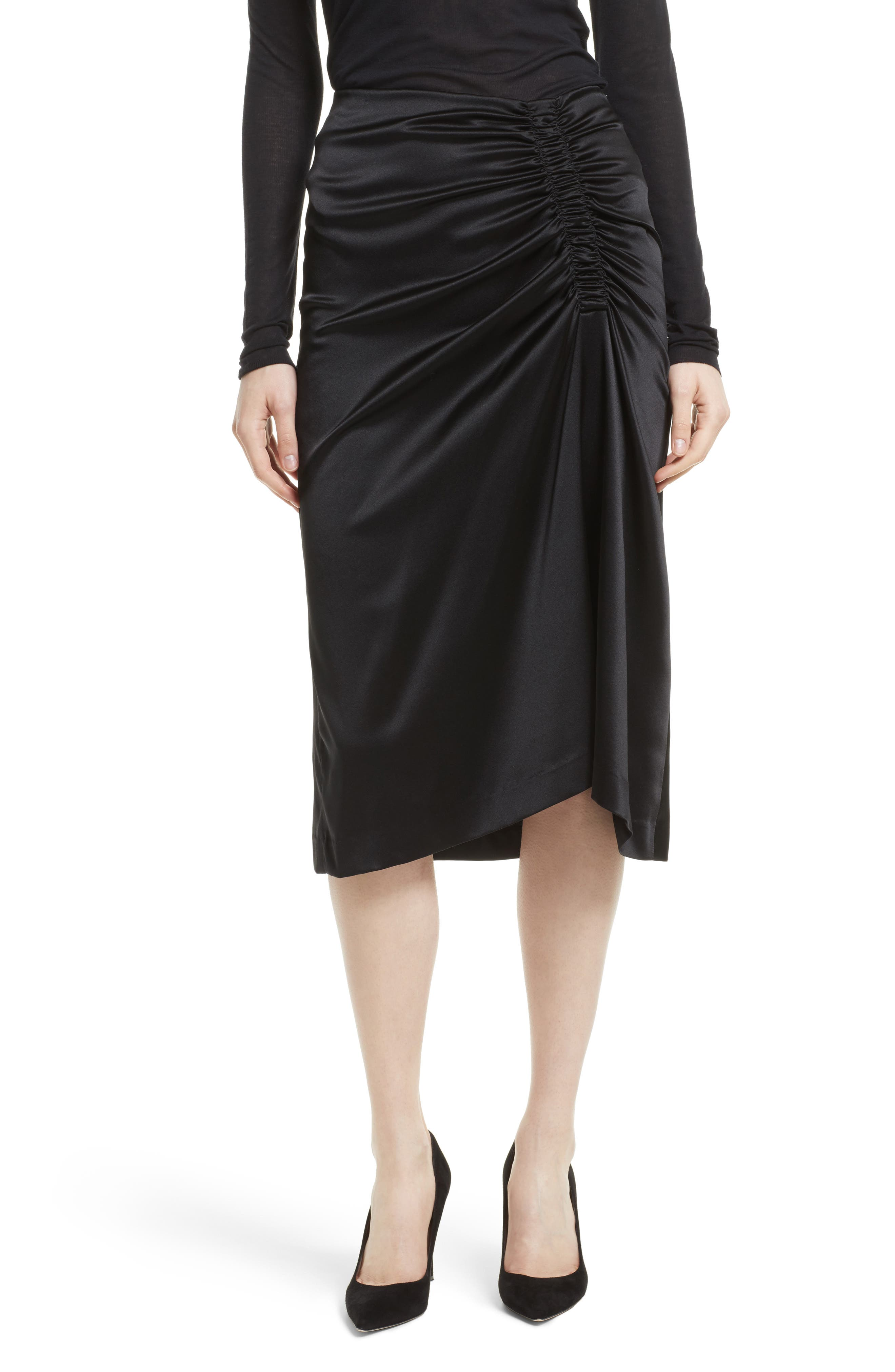 Ruched Stretch Satin Skirt,                             Main thumbnail 1, color,                             Black