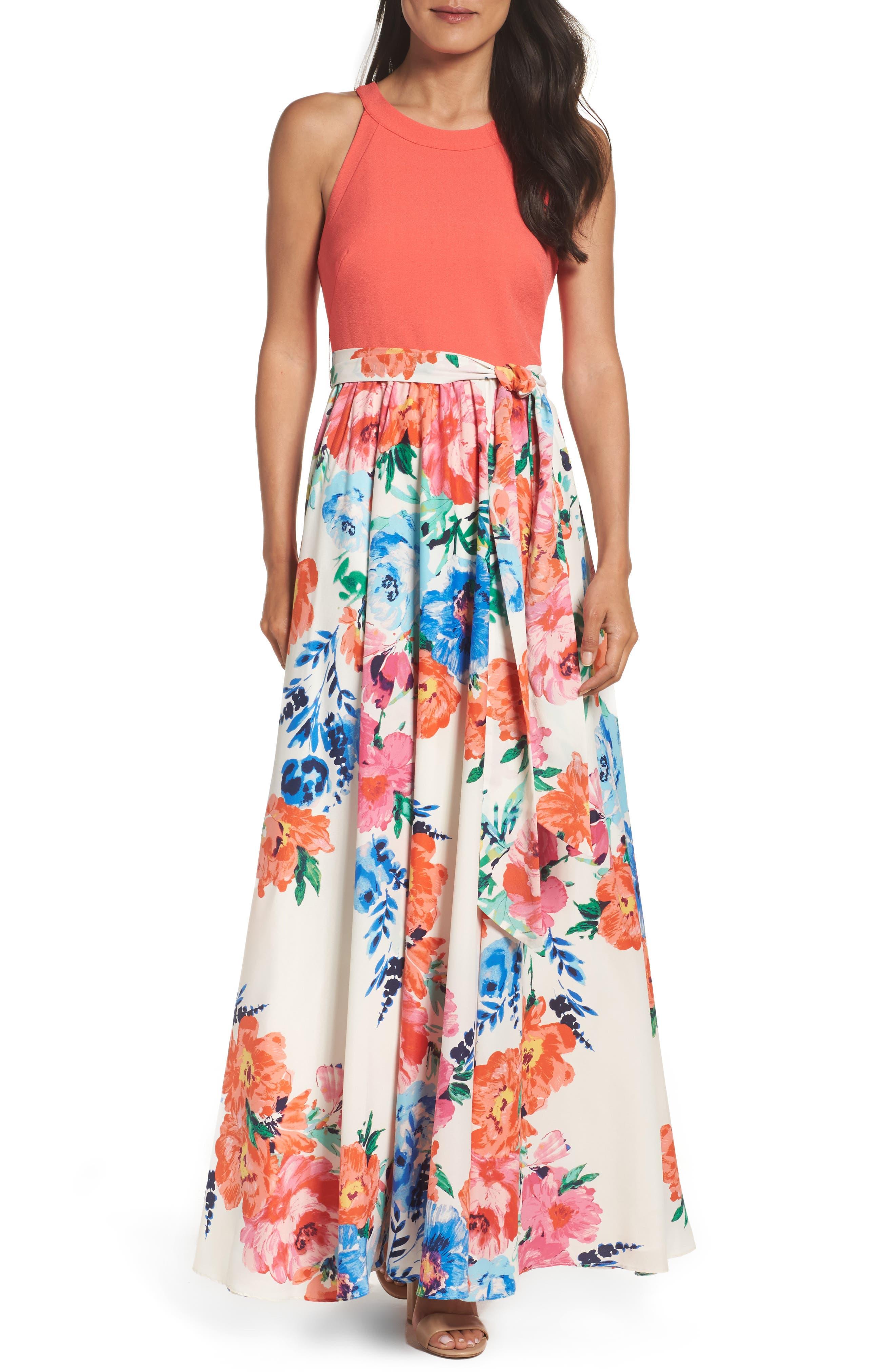 Eliza J Crepe Maxi Dress