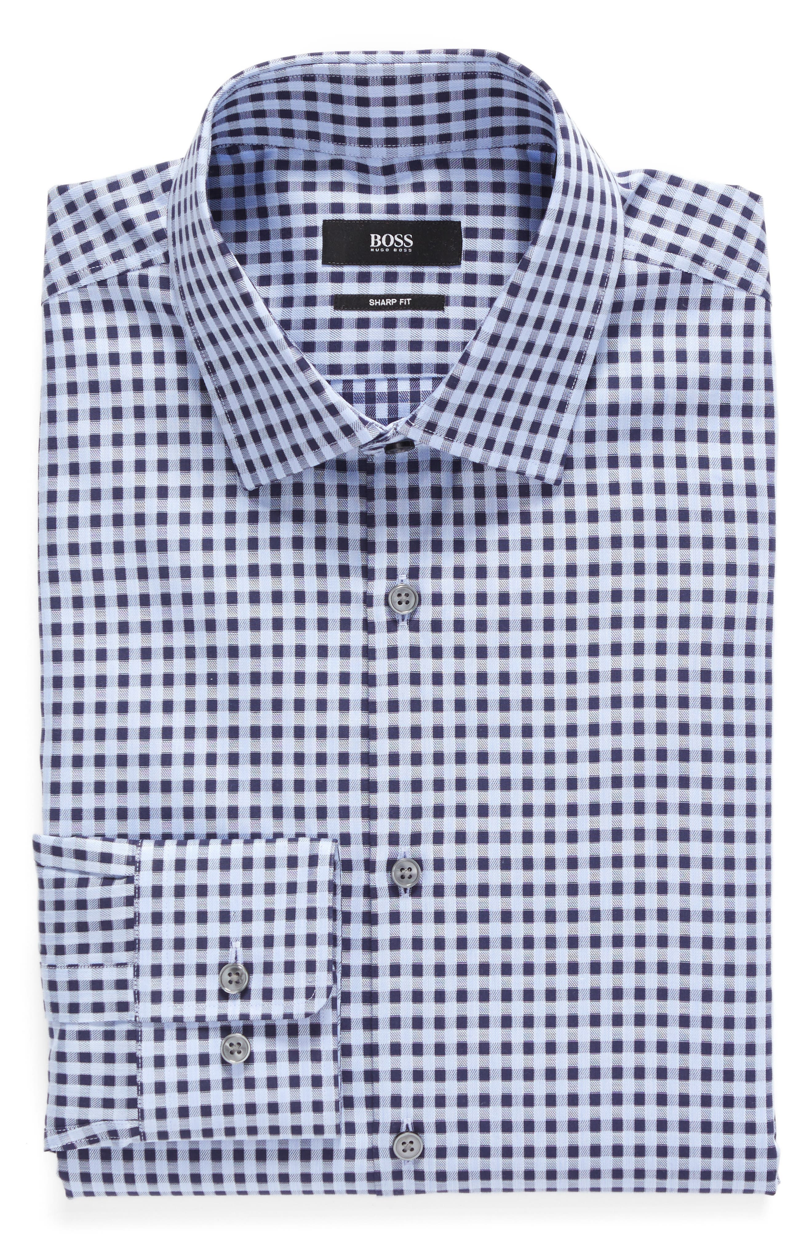 Sharp Fit Check Dress Shirt,                             Main thumbnail 1, color,                             Blue