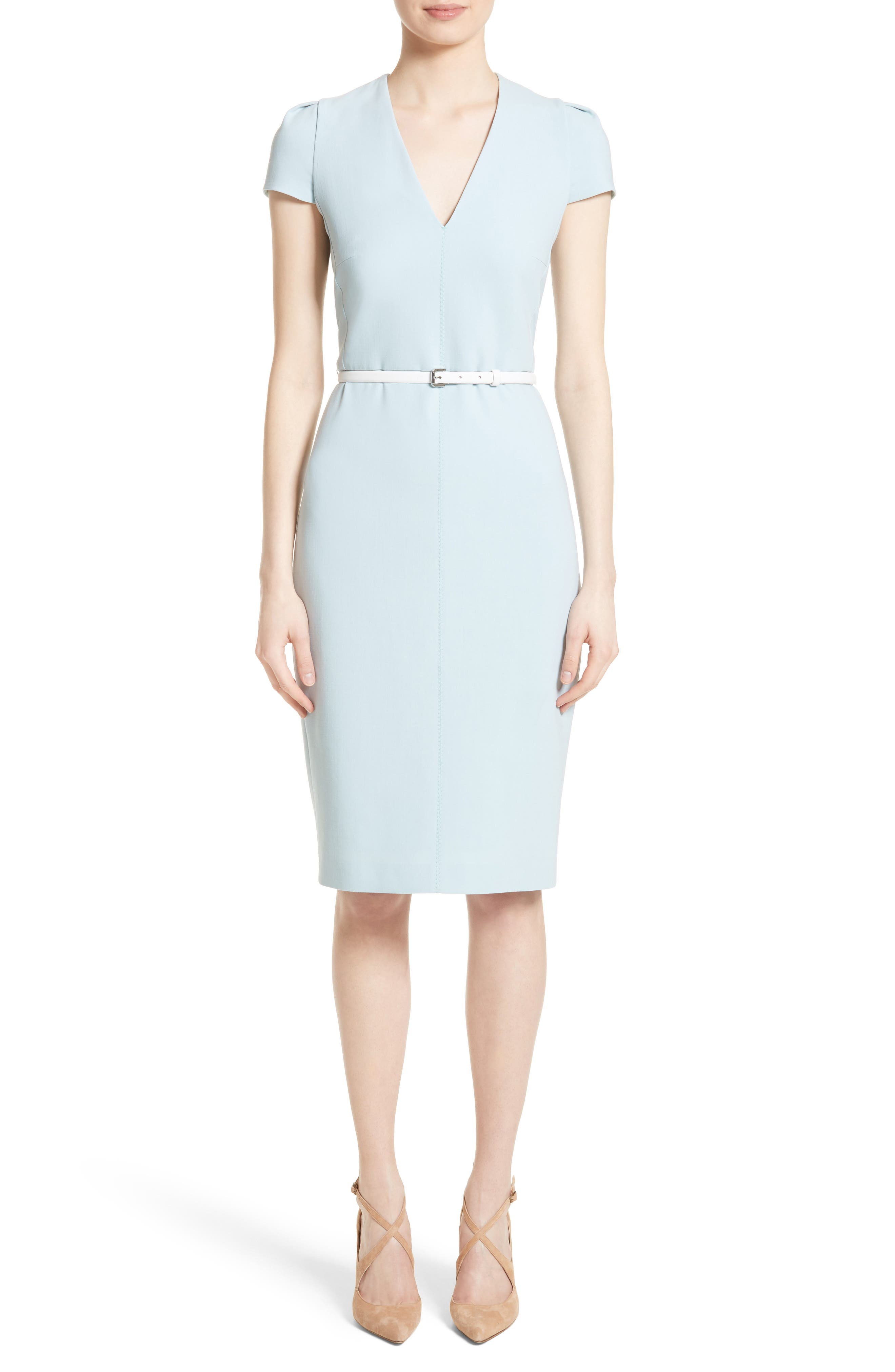 Teorema Belted Sheath Dress,                             Main thumbnail 1, color,                             Water