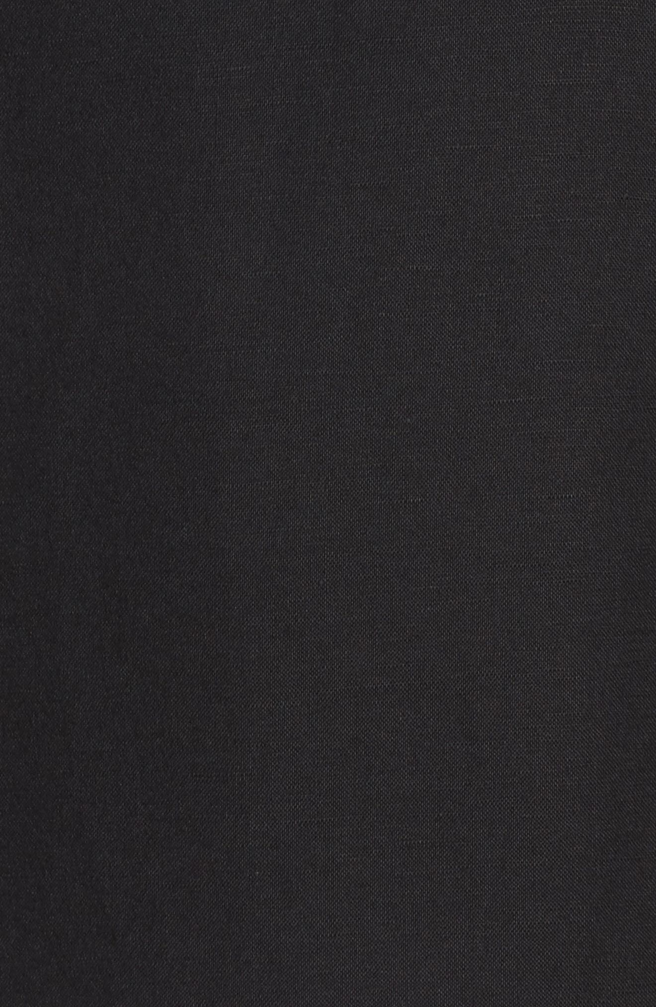 Linen Blend Sheath Dress,                             Alternate thumbnail 5, color,                             Black/ Ivory
