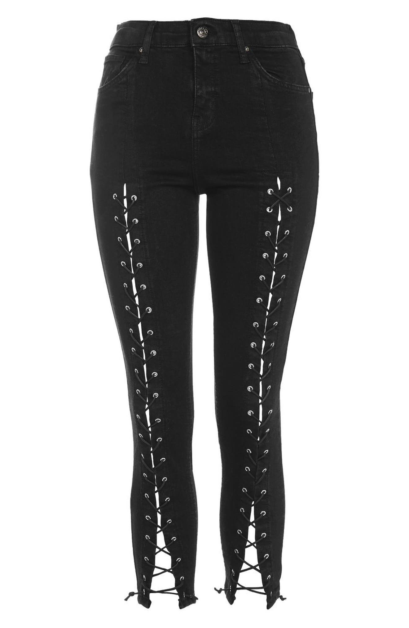Jamie Front Laced Skinny Jeans,                             Alternate thumbnail 4, color,                             Black
