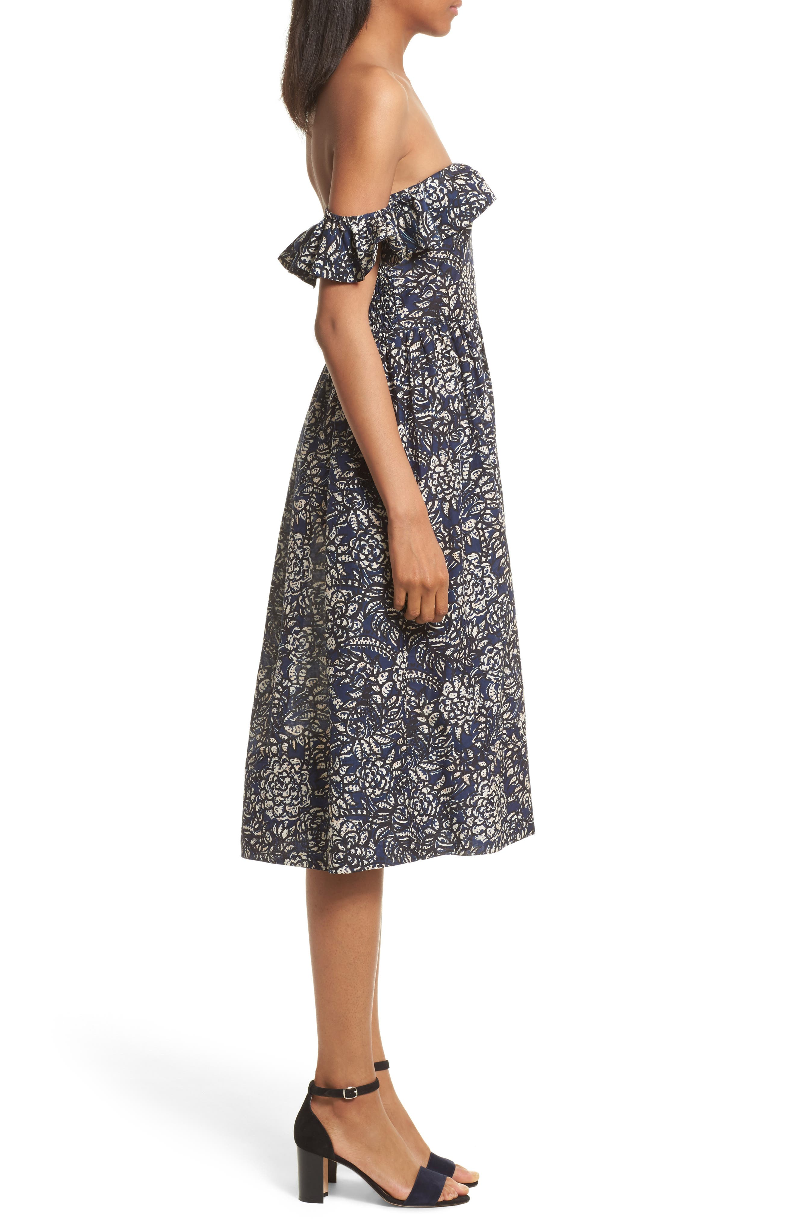 Novella Maria Off the Shoulder Dress,                             Alternate thumbnail 3, color,                             Indigo Batik Floral