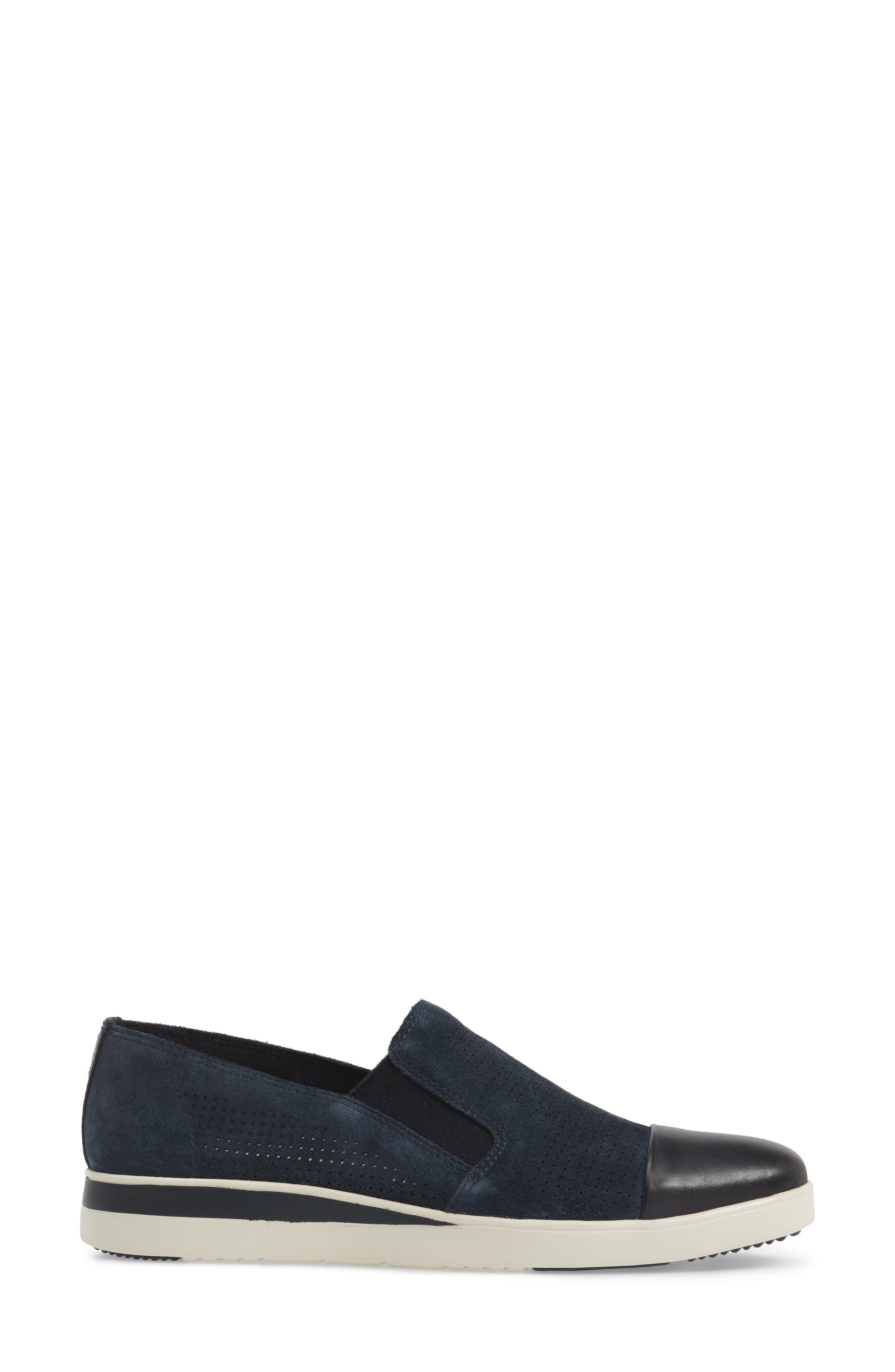 Aviana Cap Toe Slip-On Sneaker,                             Alternate thumbnail 3, color,                             Lagoon Suede