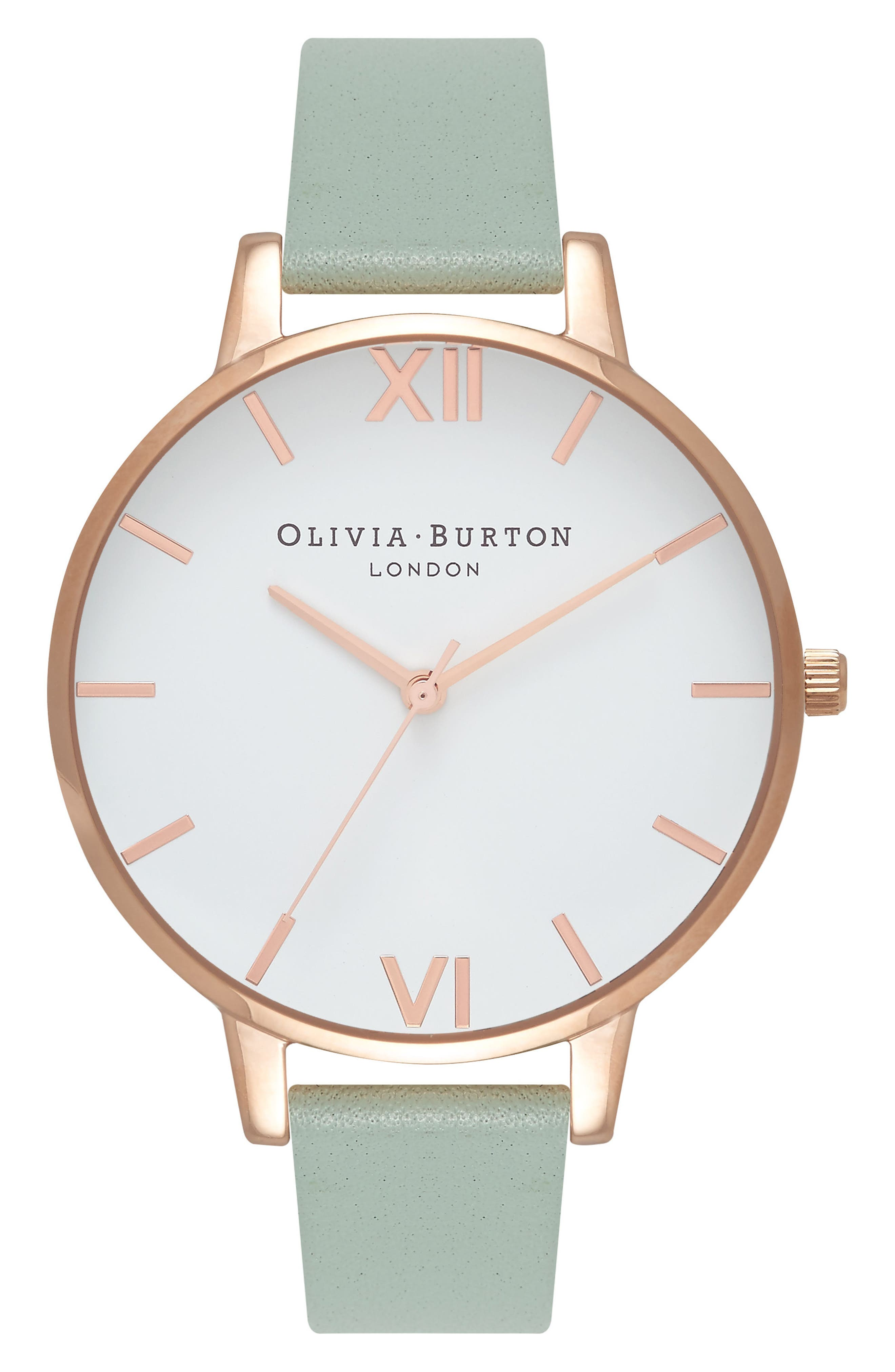 Big Dial Leather Strap Watch, 38mm,                         Main,                         color, Mint/ White/ Rose Gold