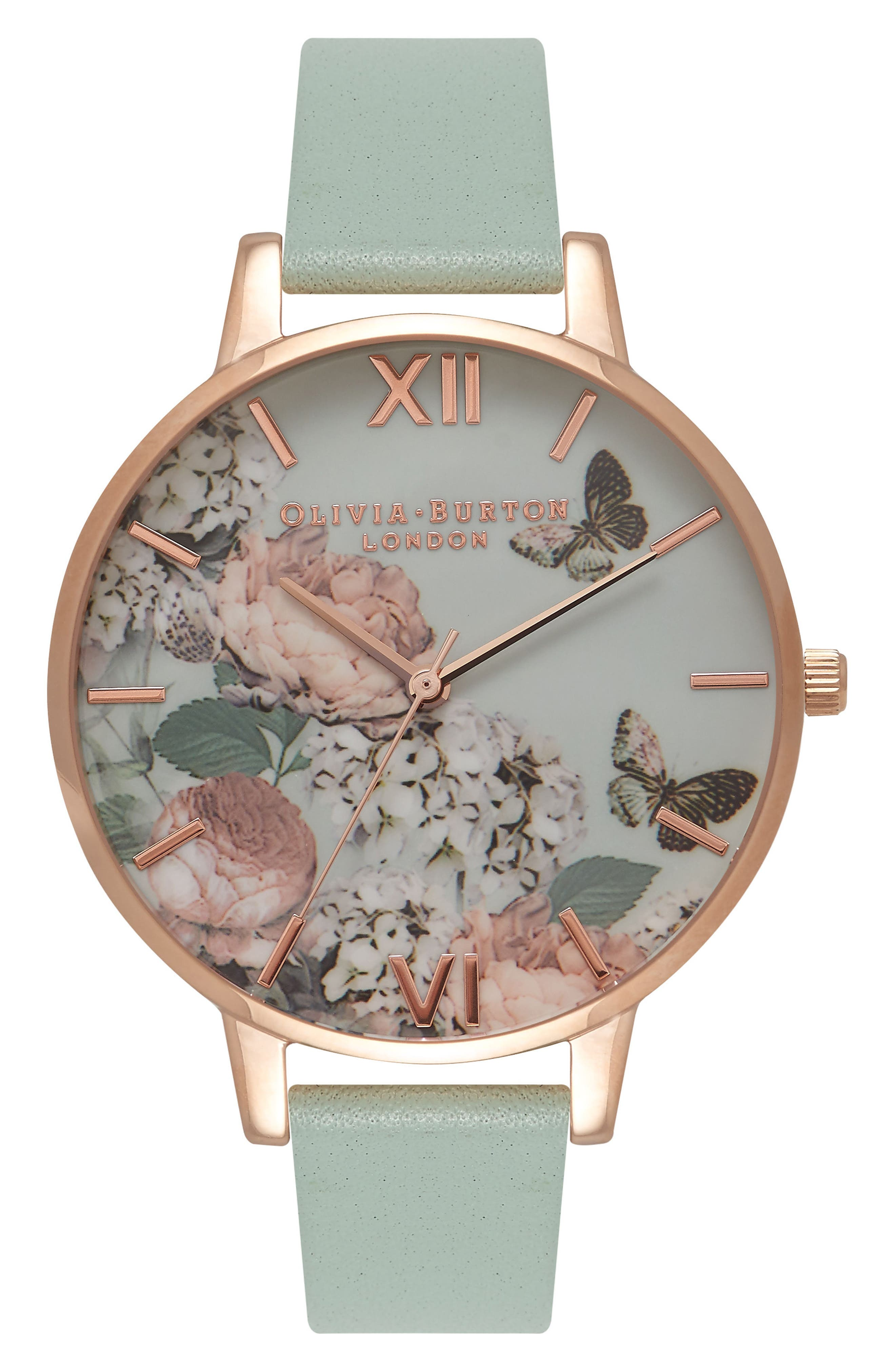 Enchanted Garden Leather Strap Watch, 38mm,                         Main,                         color, Mint/ Floral/ Rose Gold
