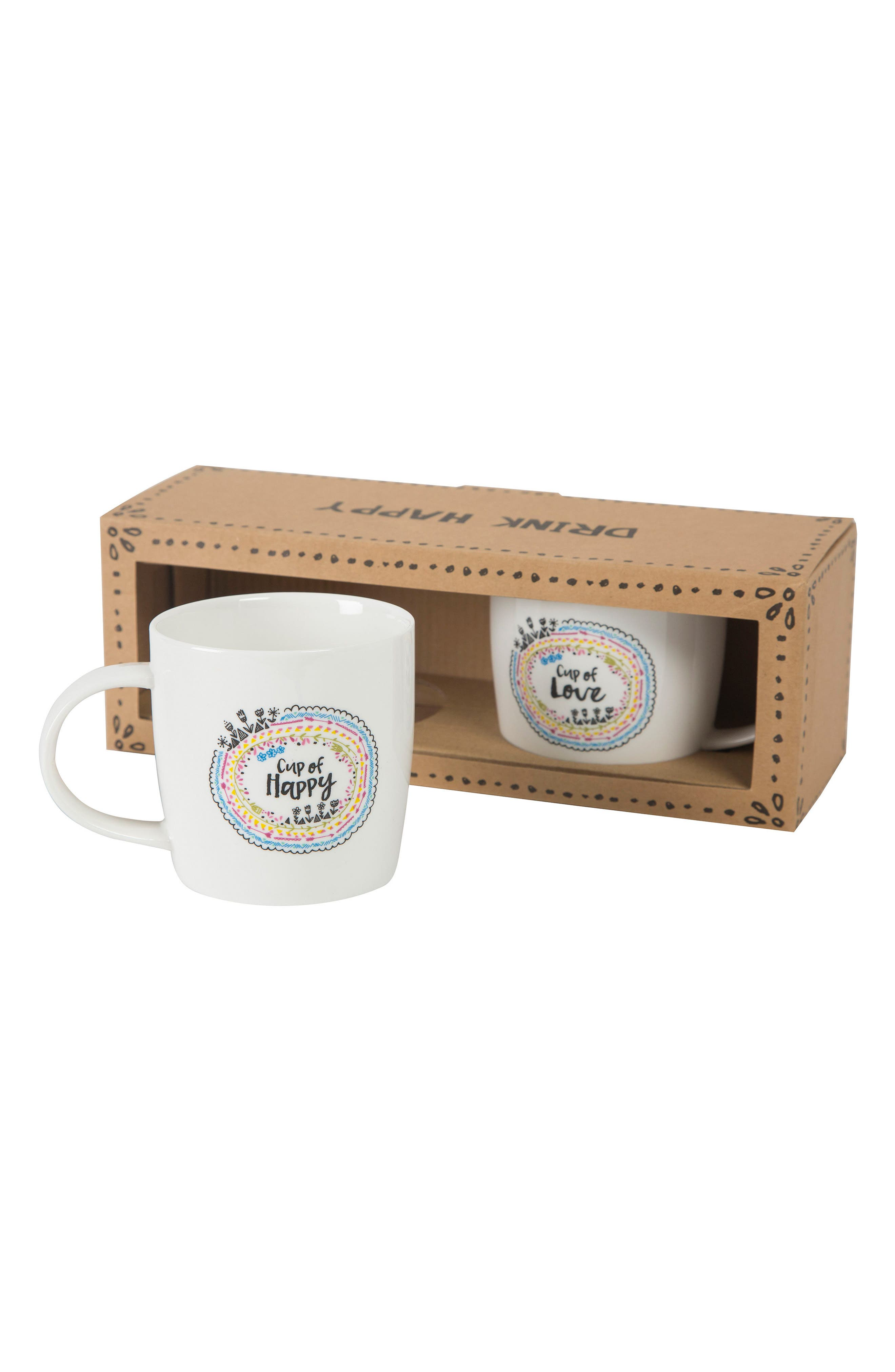 Cup of Happy & Cup of Love Set of 2 Mugs,                             Alternate thumbnail 2, color,                             Ivory