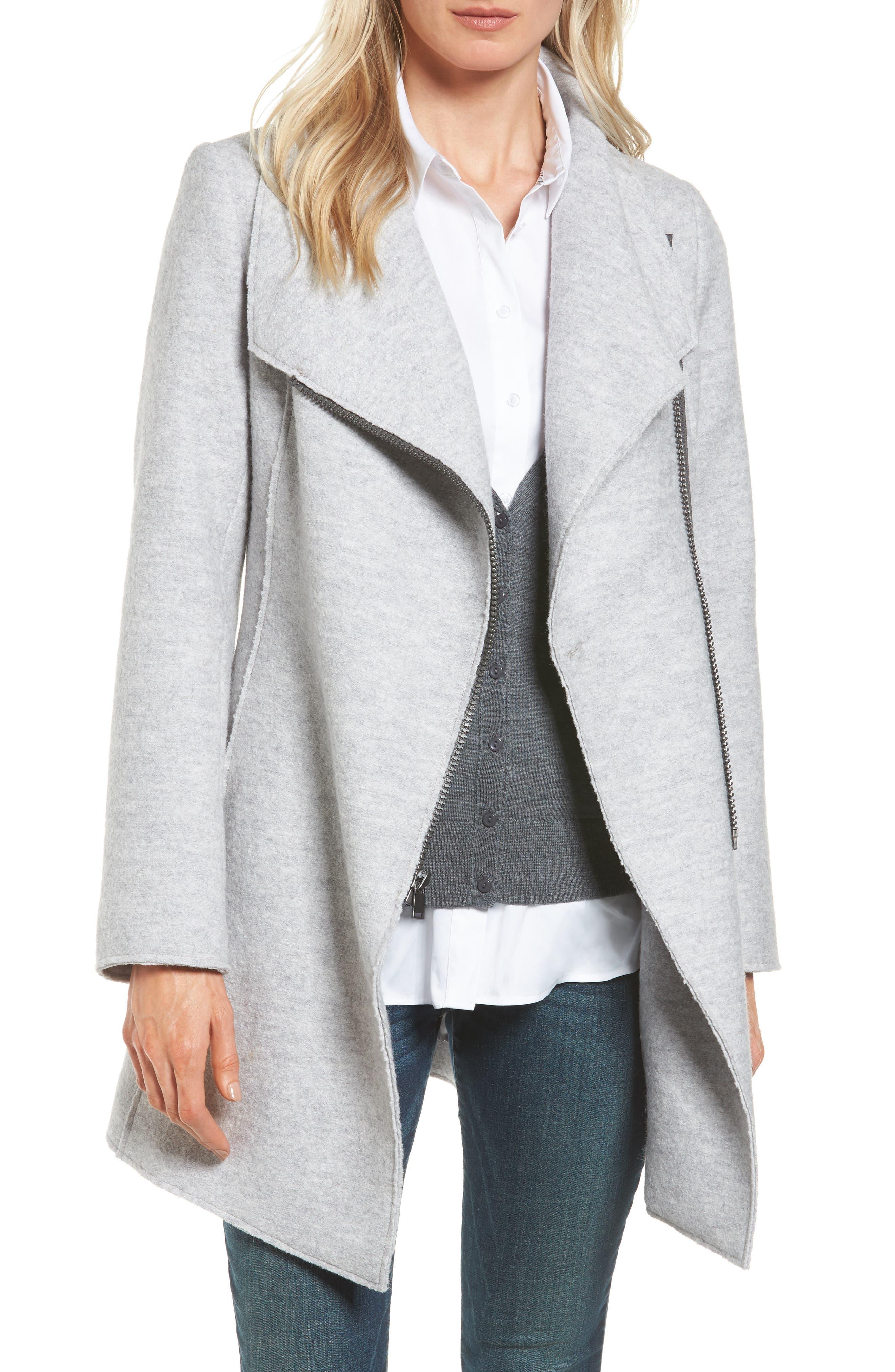 Main Image - Halogen® Asymmetrical Zip Boiled Wool Blend Coat (Regular & Petite)