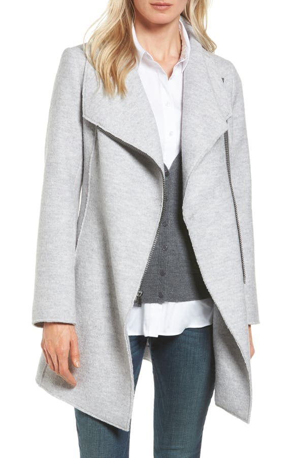 Halogen® Asymmetrical Zip Boiled Wool Blend Coat (Regular & Petite ...