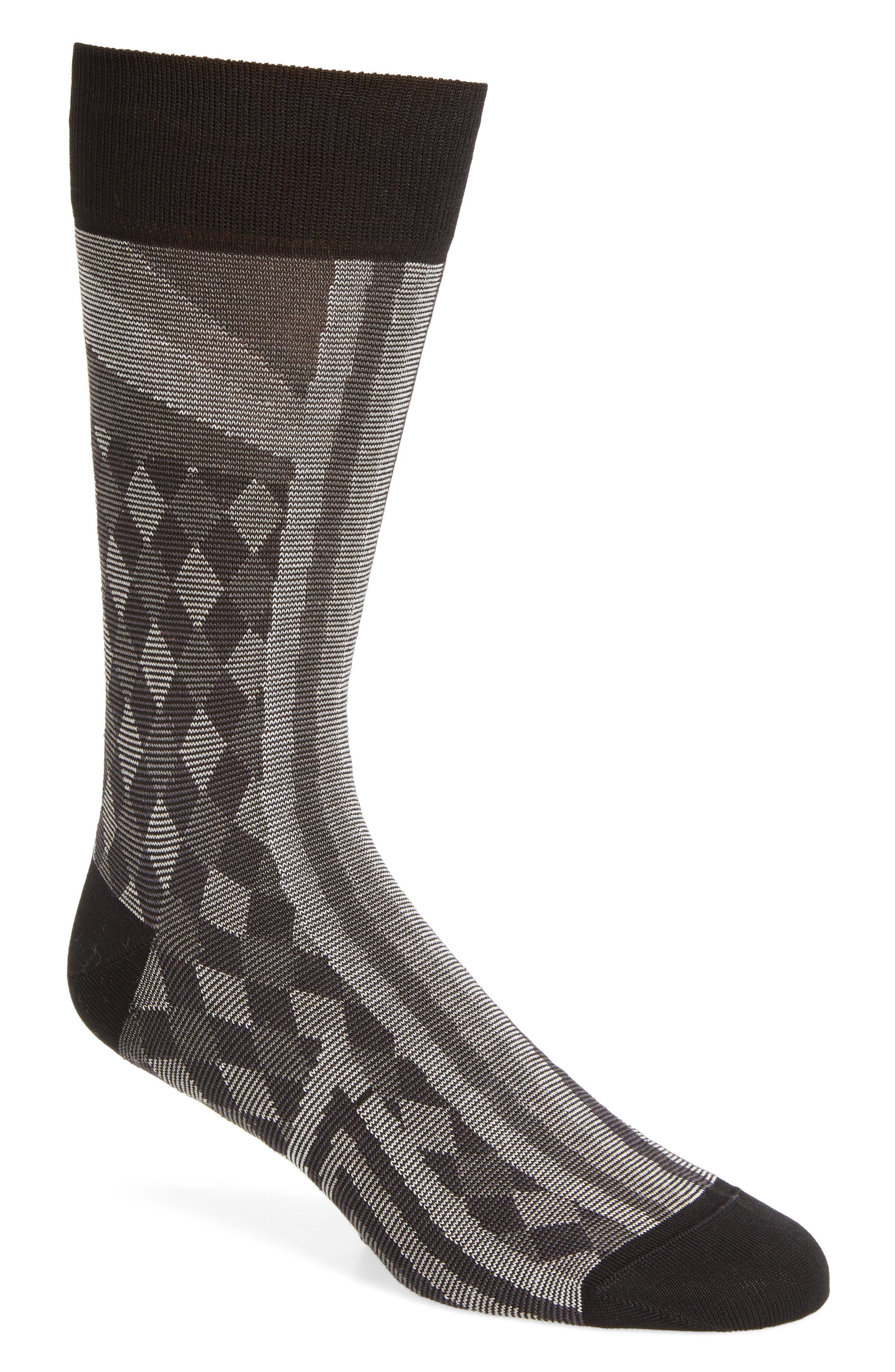 Checks & Stripes Crew Socks,                         Main,                         color, Black/ Grey