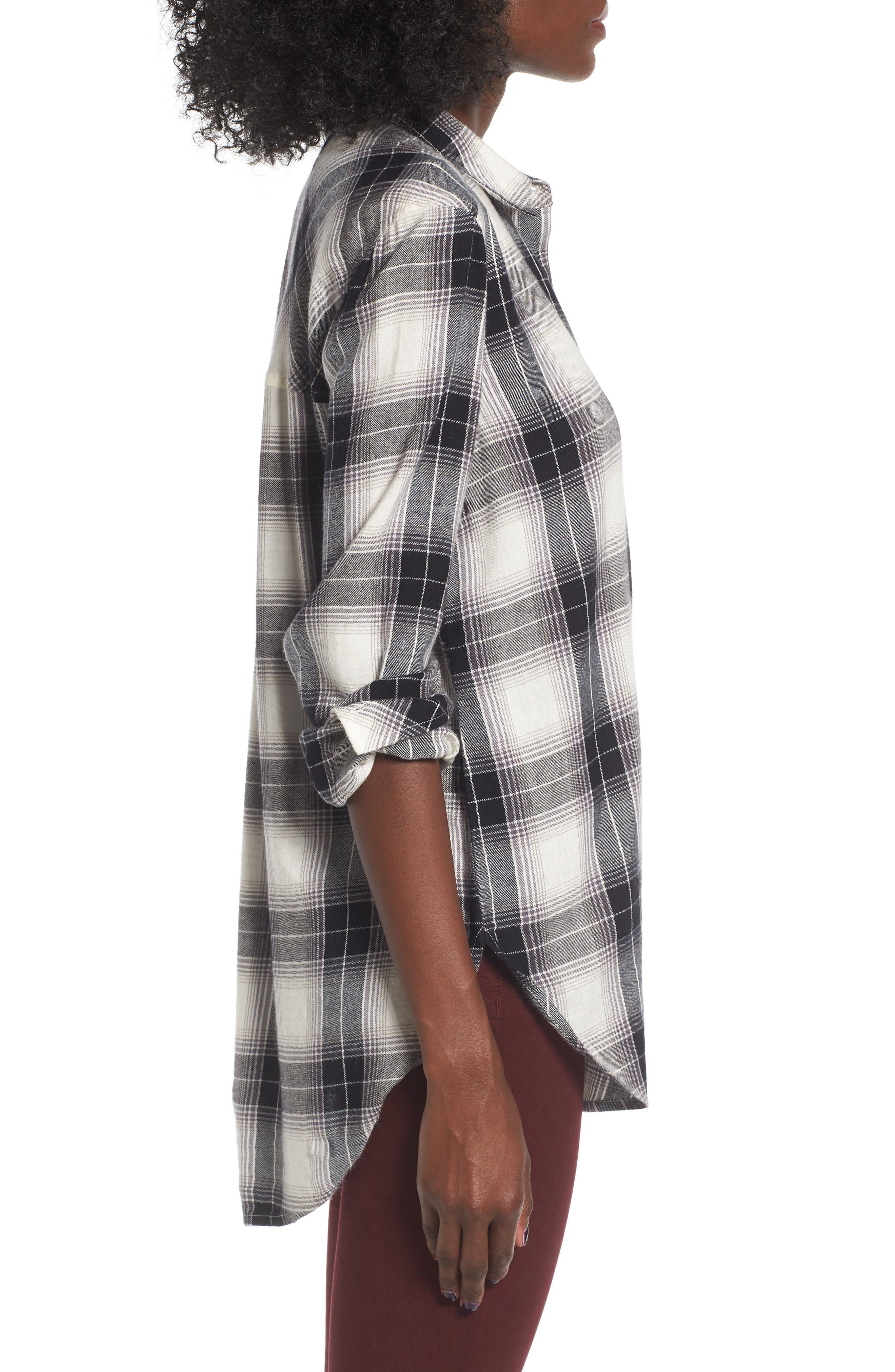 Plaid Cotton Blend Shirt,                             Alternate thumbnail 4, color,                             Ivory Egret Schy Plaid