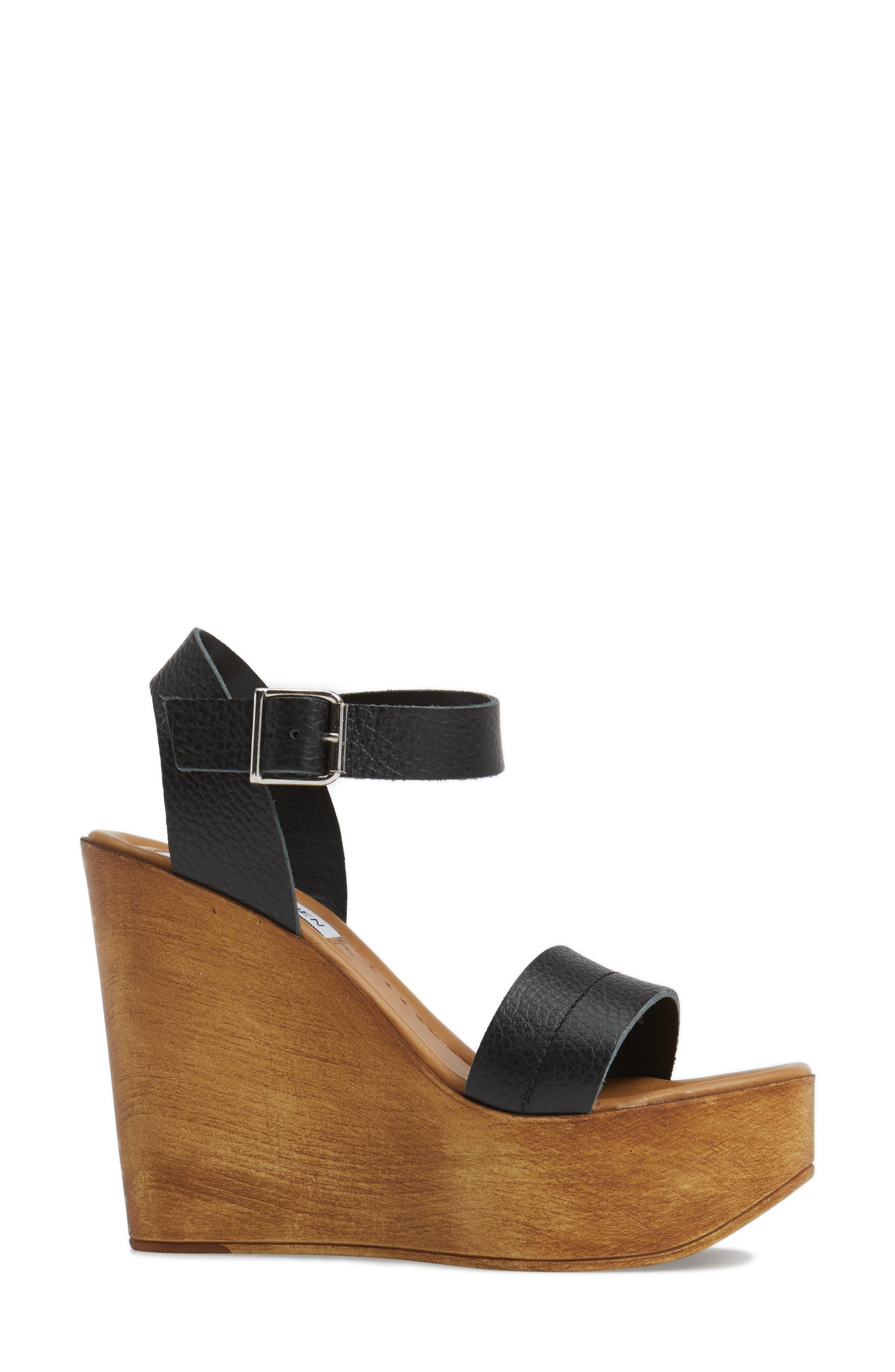 Belma Wedge Sandal,                             Alternate thumbnail 3, color,                             Black Leather