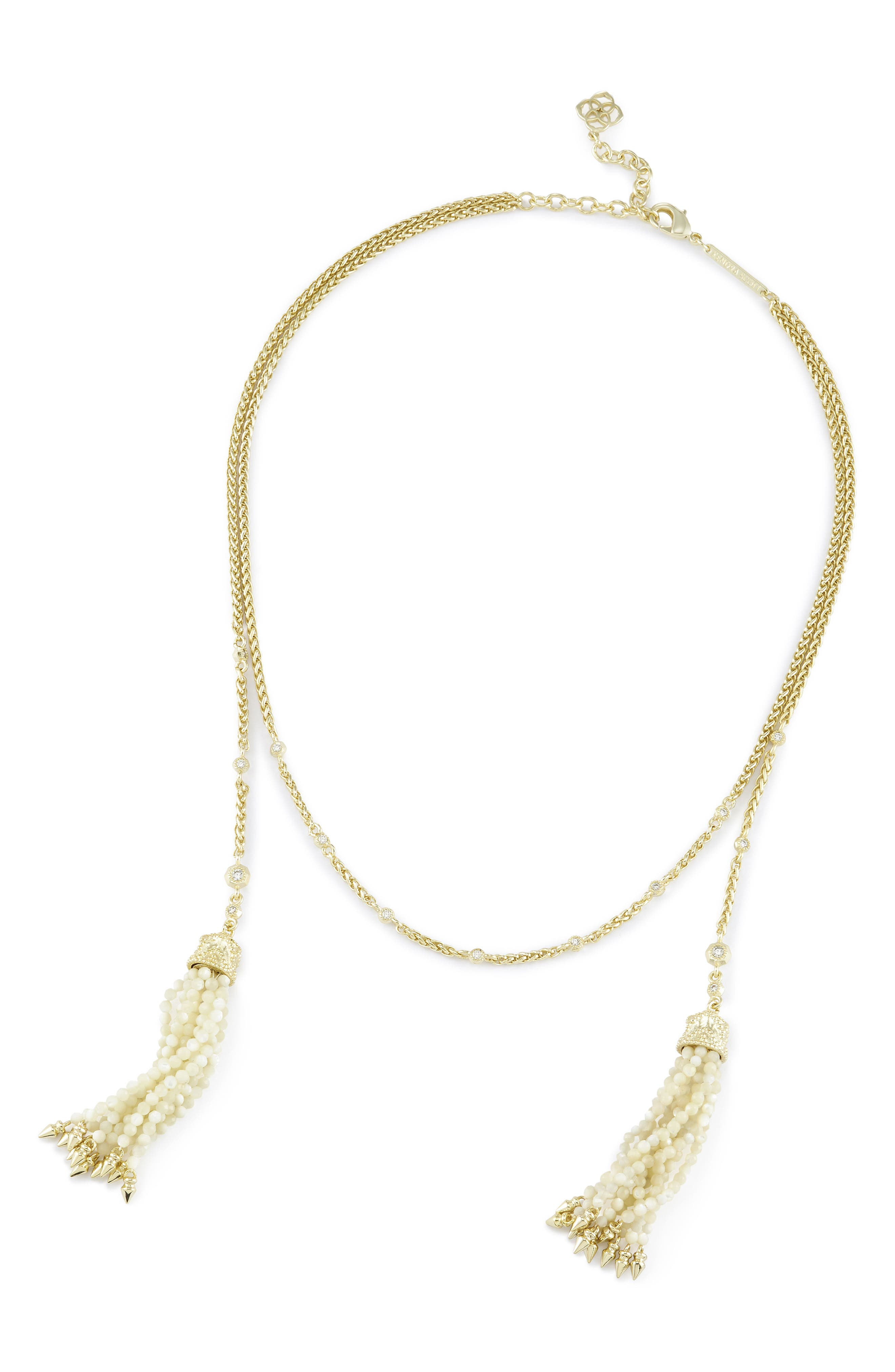 Monique Tassel Necklace,                             Alternate thumbnail 4, color,                             Ivory Mop/ Gold