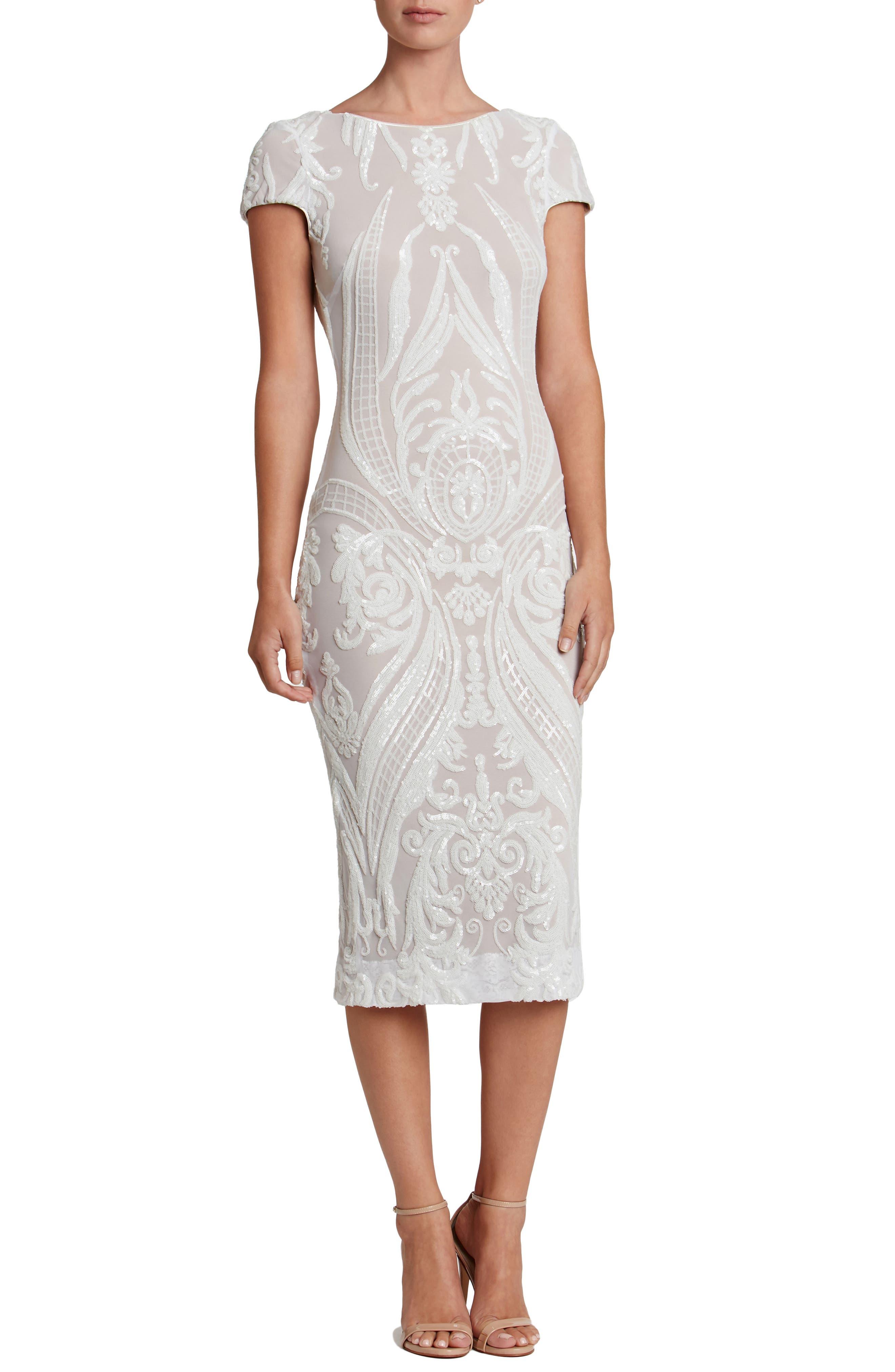 Brandi Sequin Body-Con Dress,                         Main,                         color, White/ Nude