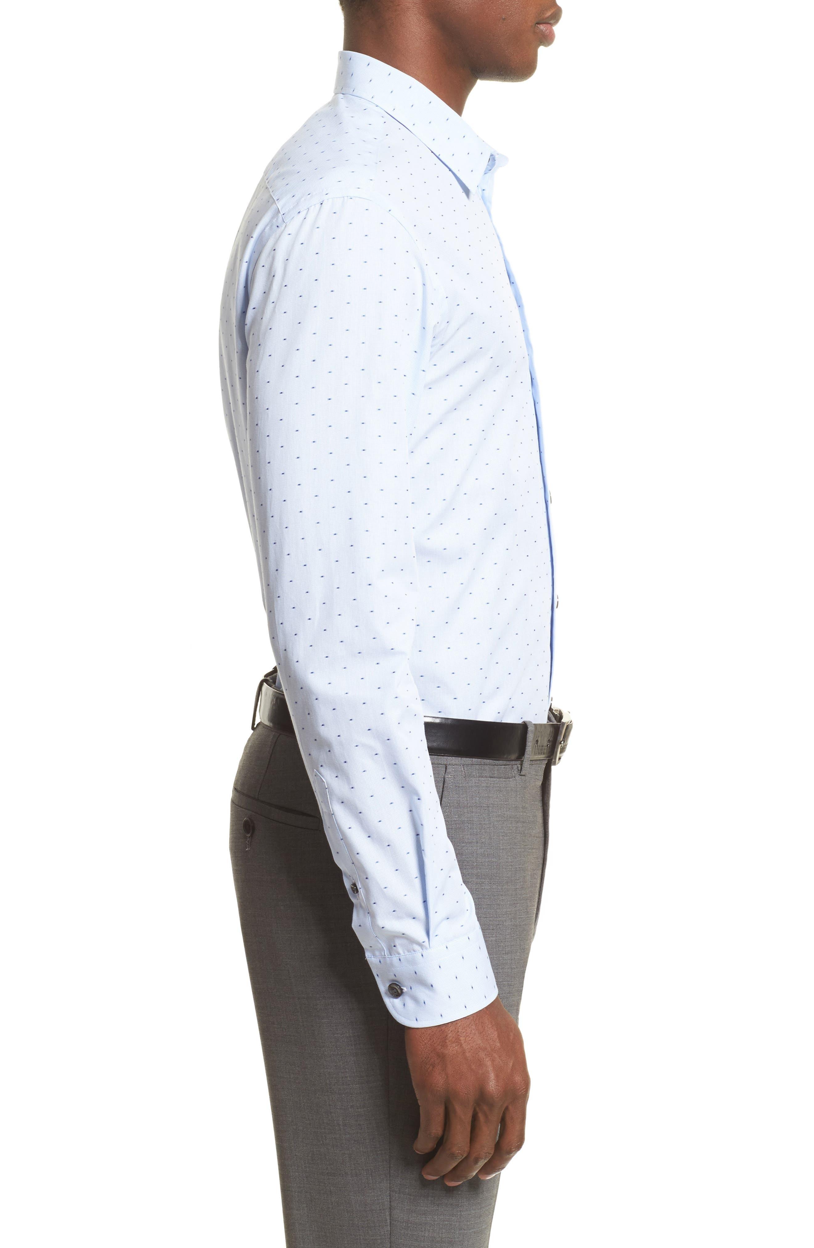 Regular Fit Print Sport Shirt,                             Alternate thumbnail 3, color,                             Blue