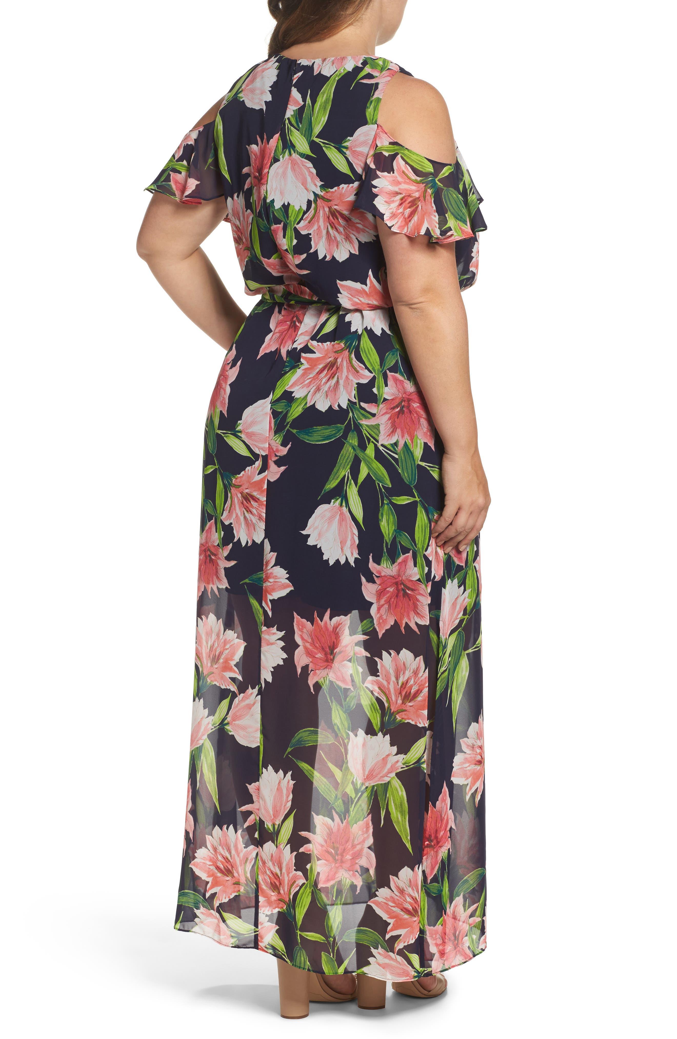 Alternate Image 2  - Eliza J Floral Chiffon Cold Shoulder Maxi Dress (Plus Size)
