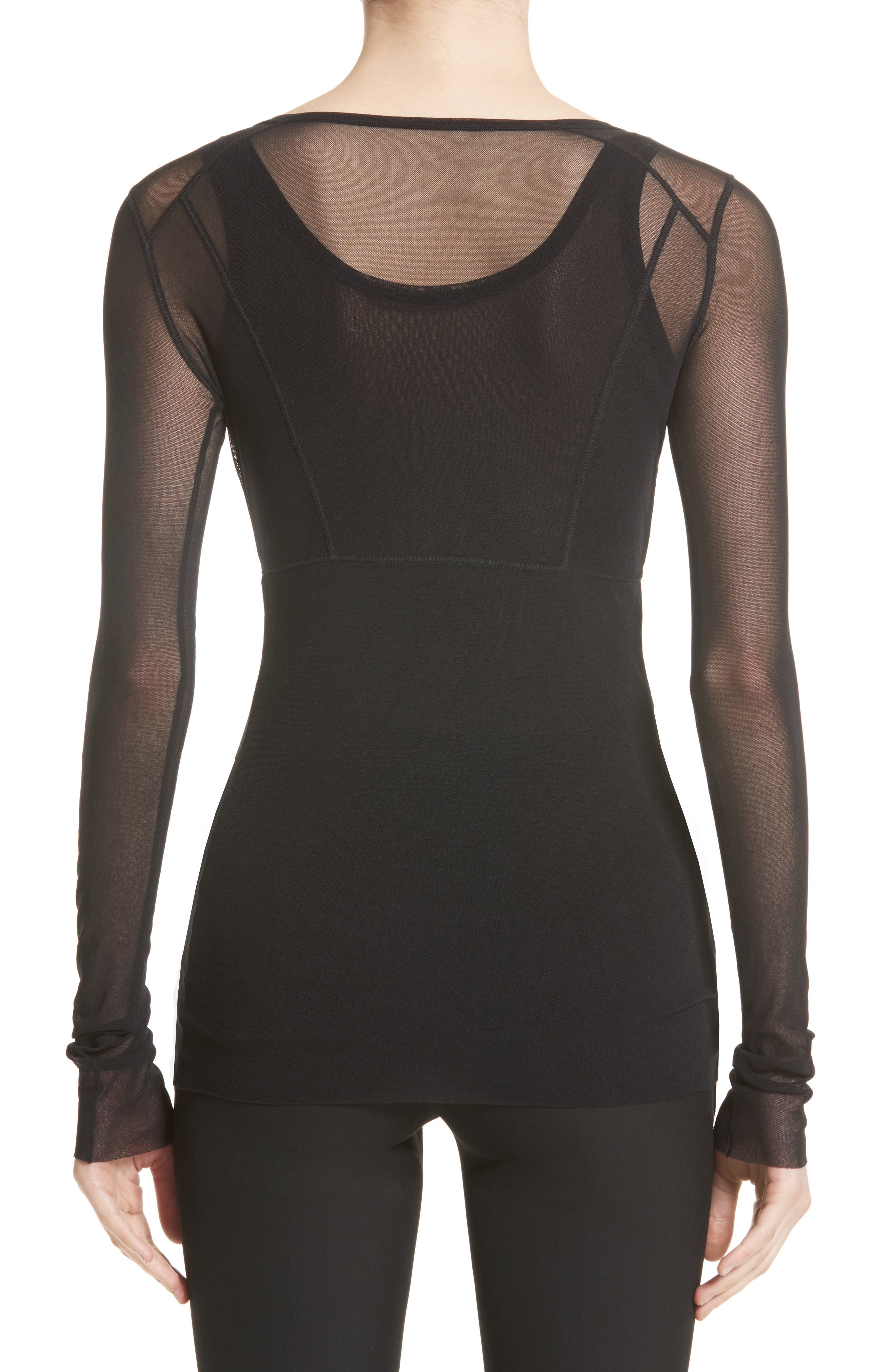 Double Layer Tulle Top,                             Alternate thumbnail 2, color,                             Nero
