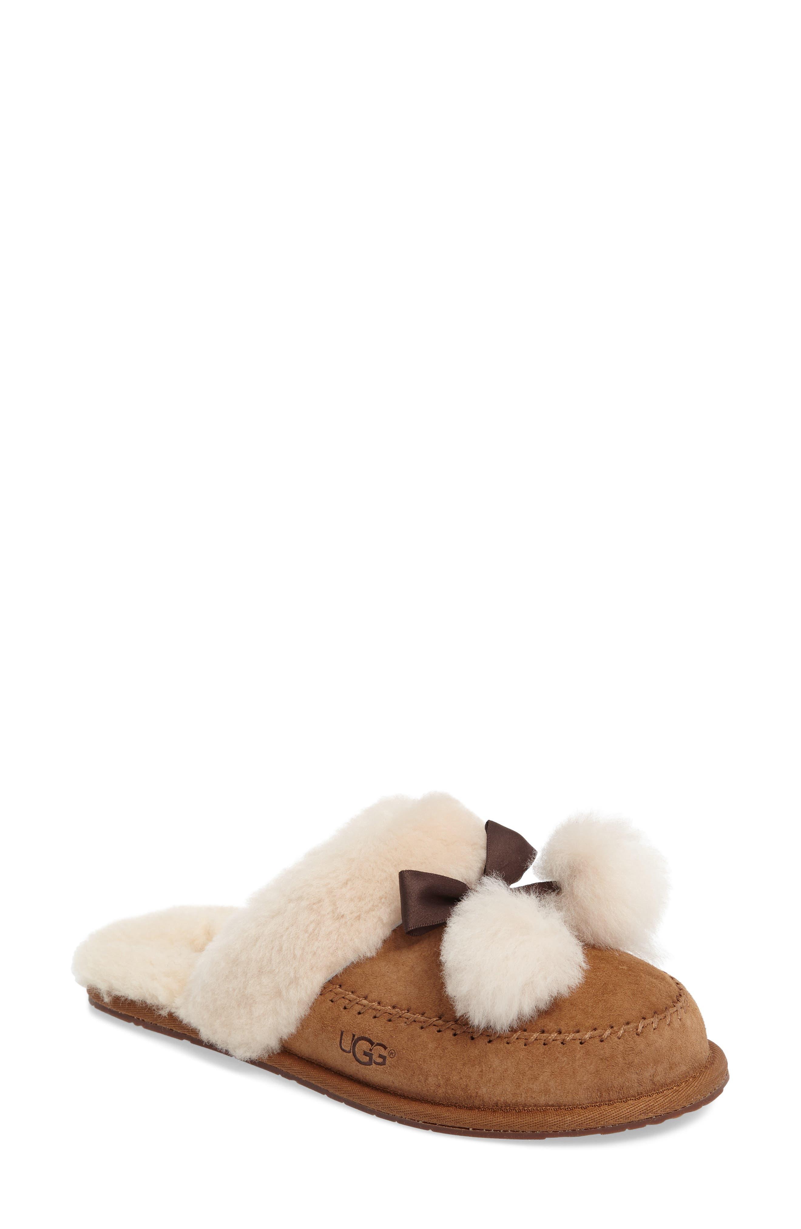 Hafnier Genuine Shearling Slipper,                         Main,                         color, Chestnut Suede