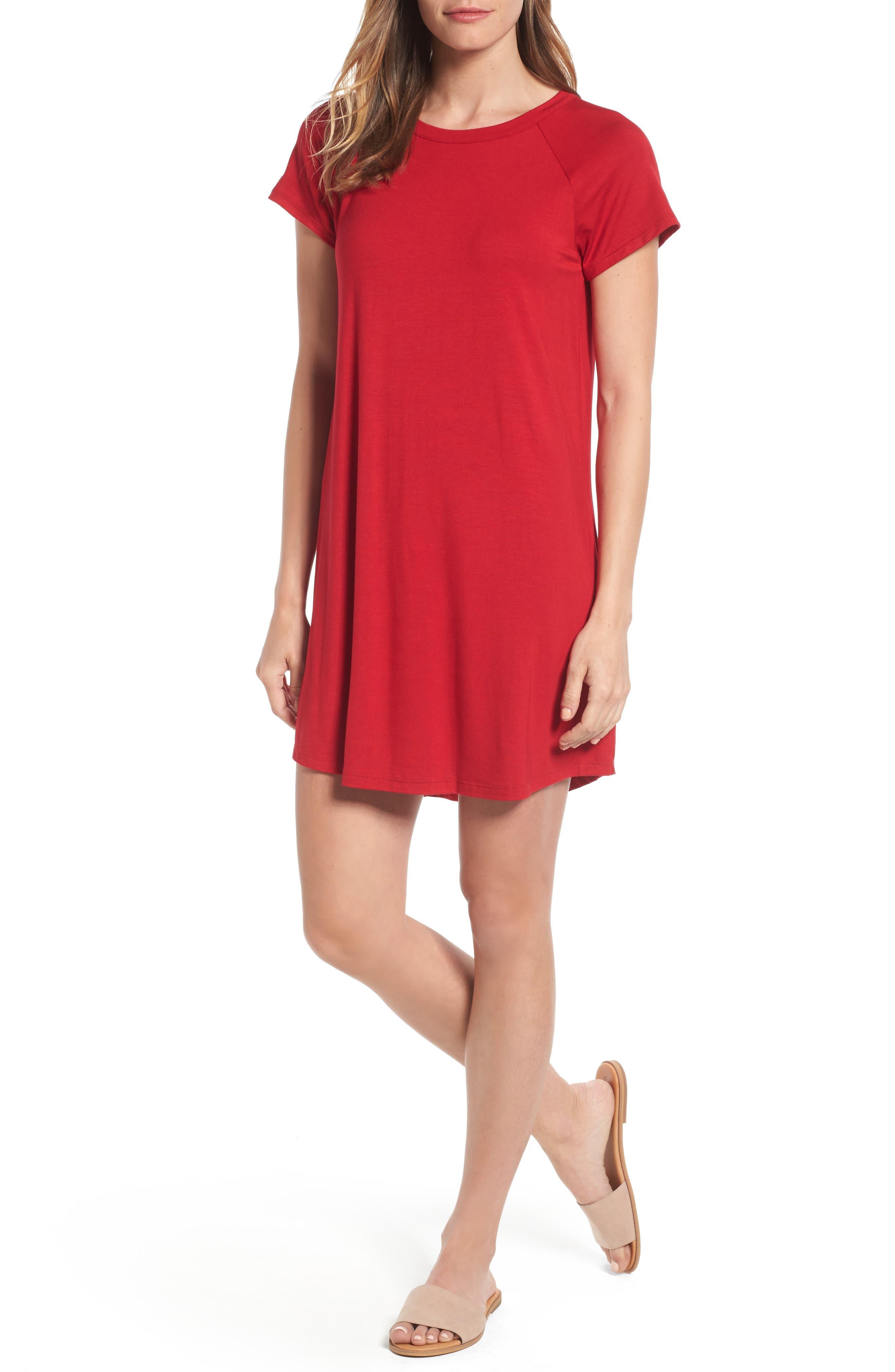 Bobeau Back Cutout Tunic Dress (Regular & Petite)