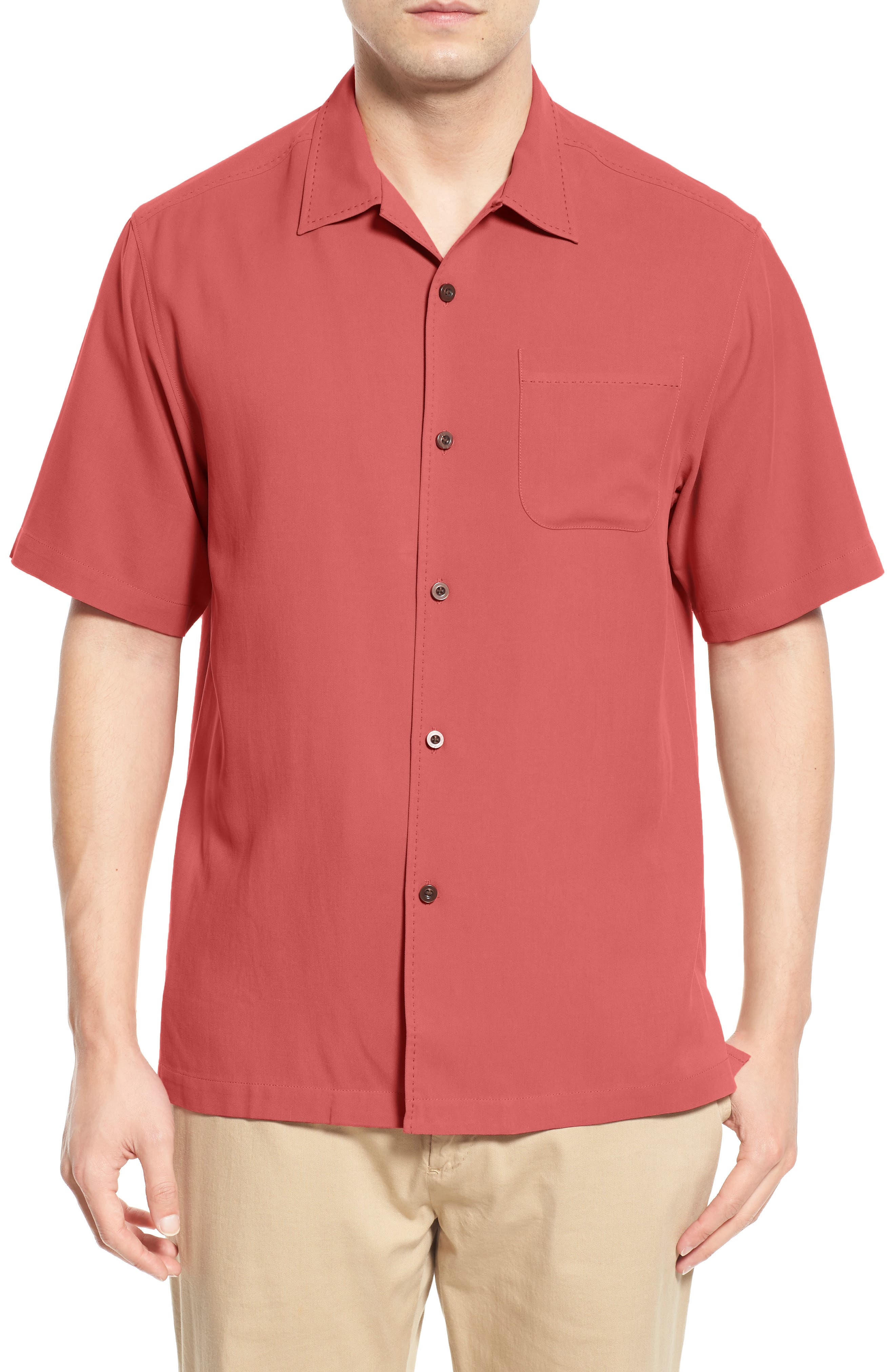 'Catalina Twill' Original Fit Silk Camp Shirt,                         Main,                         color, Coral Reef