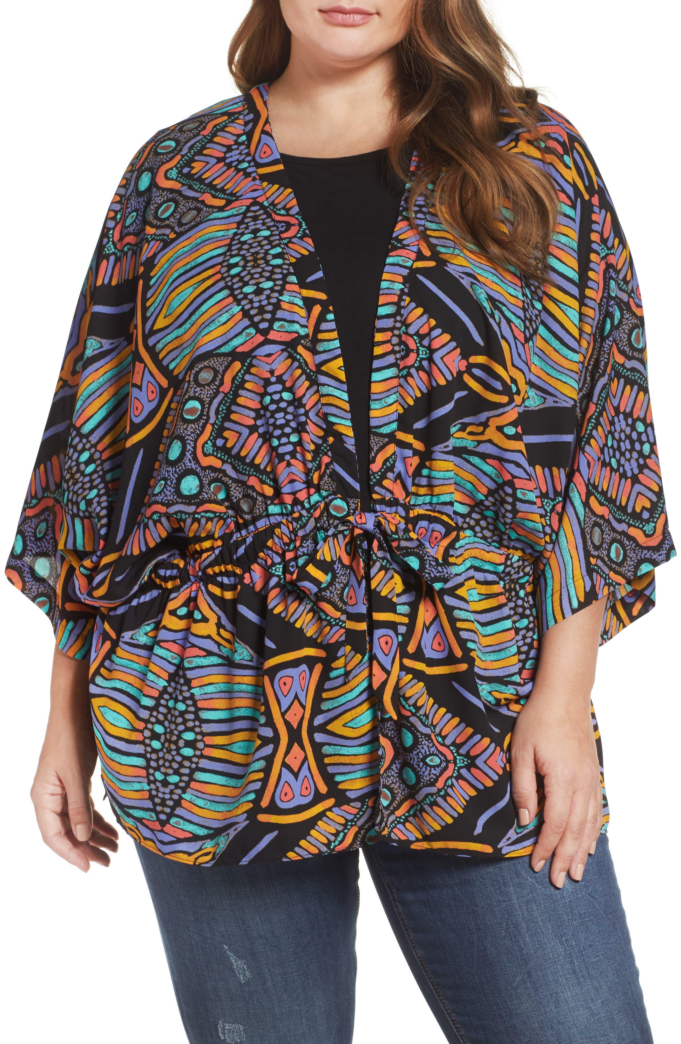 Melissa McCarthy Seven7 Tie Front Kimono Jacket (Plus Size)