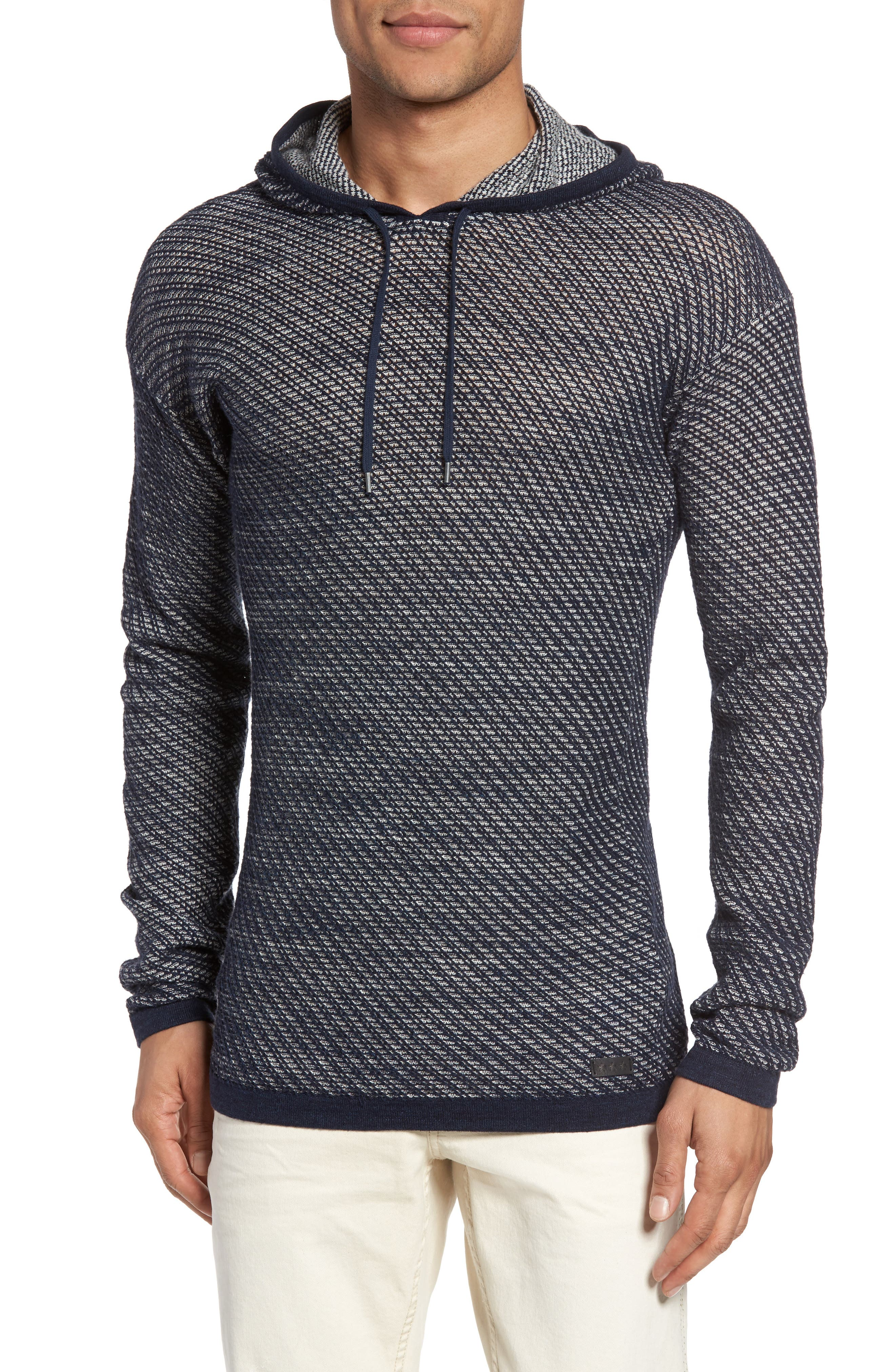 Textured Knit Hoodie,                         Main,                         color, Ink Blue