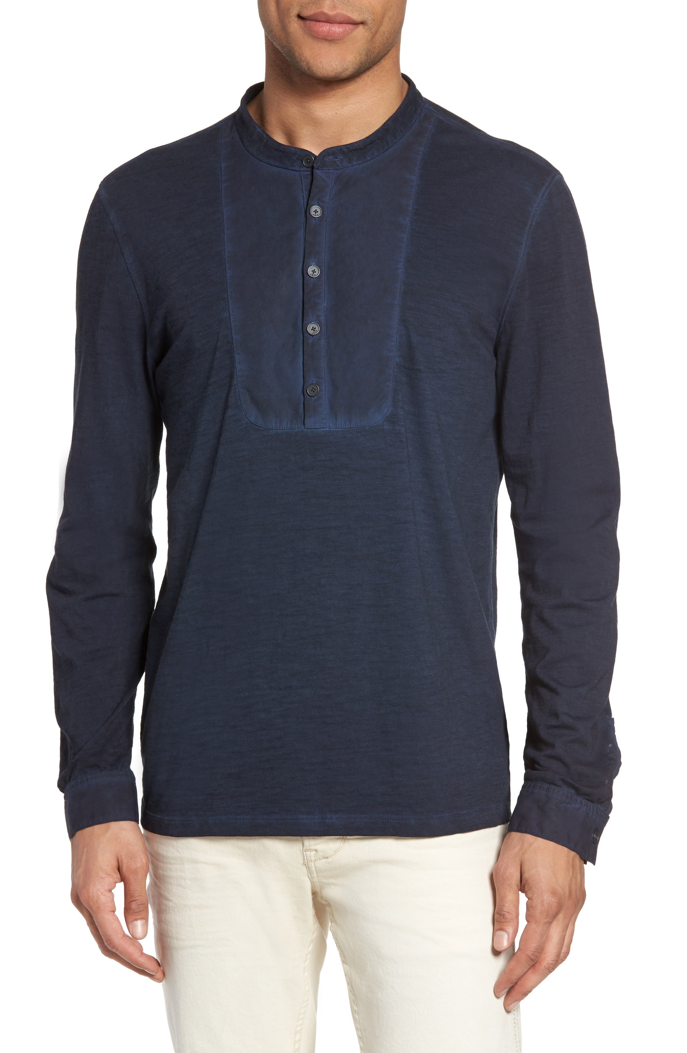 Long Sleeve Cotton Henley,                         Main,                         color, Midnight